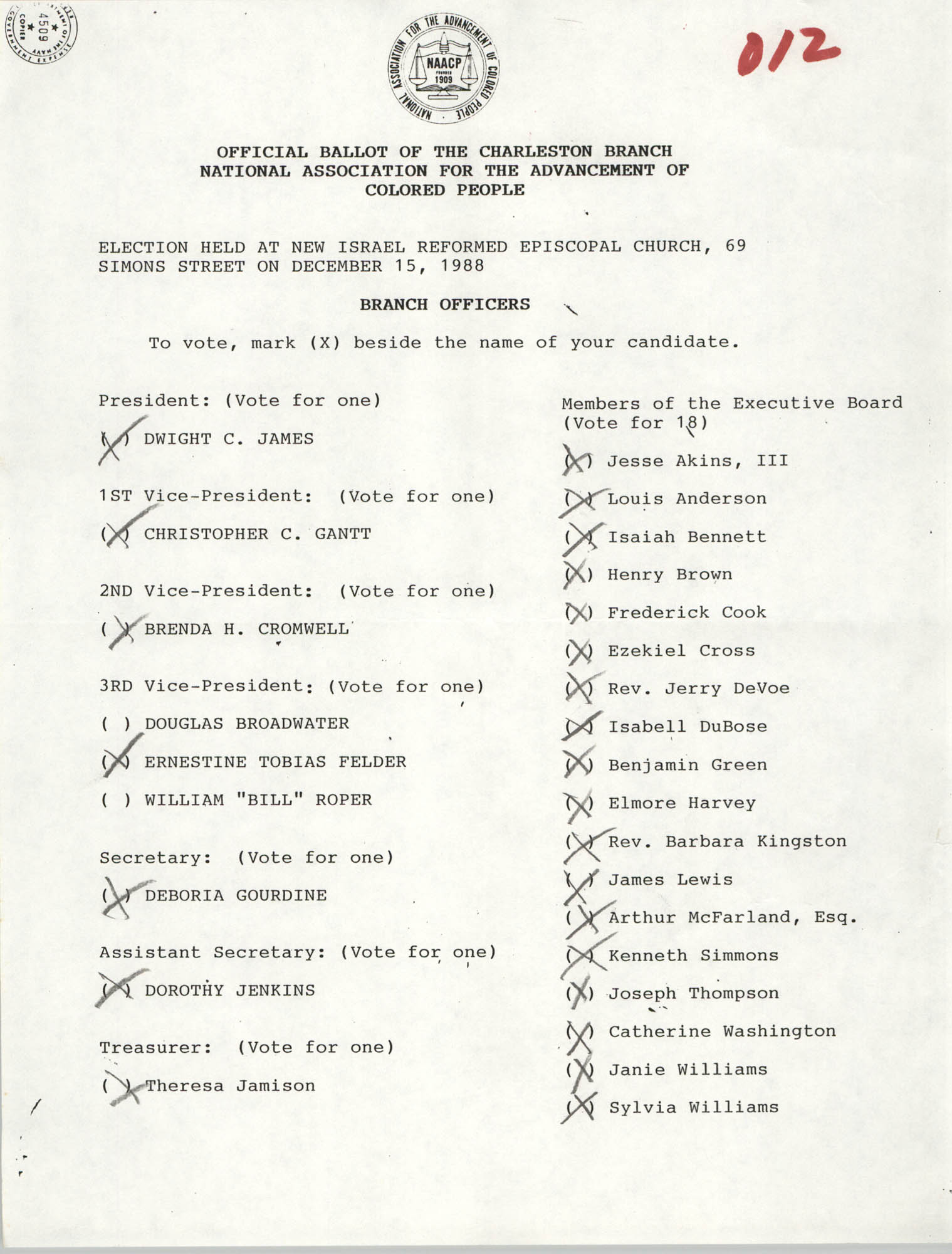 Official Ballot of the Charleston Branch of the NAACP, 012