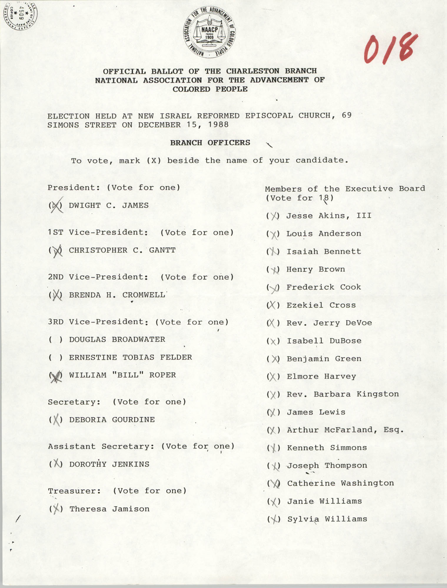 Official Ballot of the Charleston Branch of the NAACP, 018