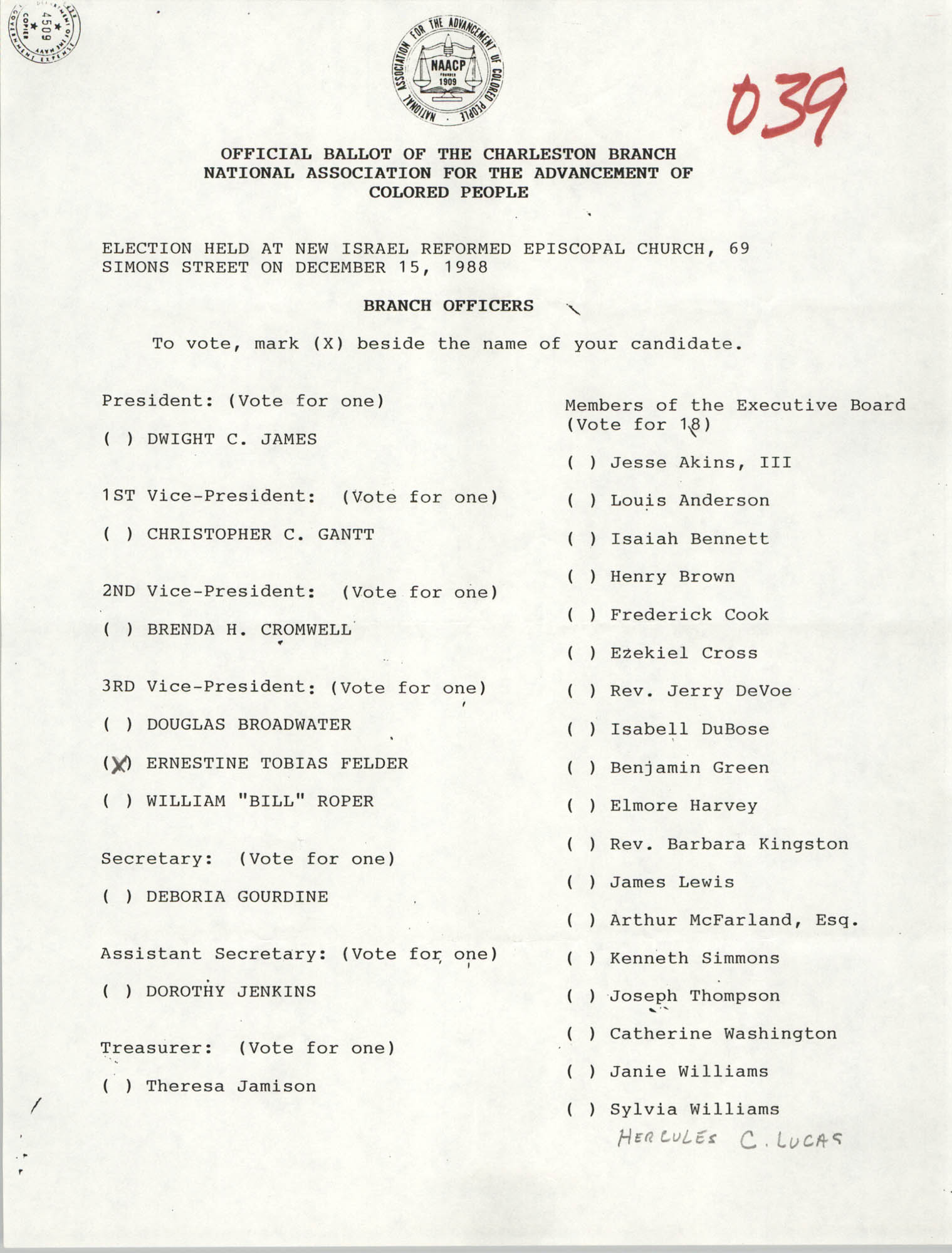 Official Ballot of the Charleston Branch of the NAACP, 039