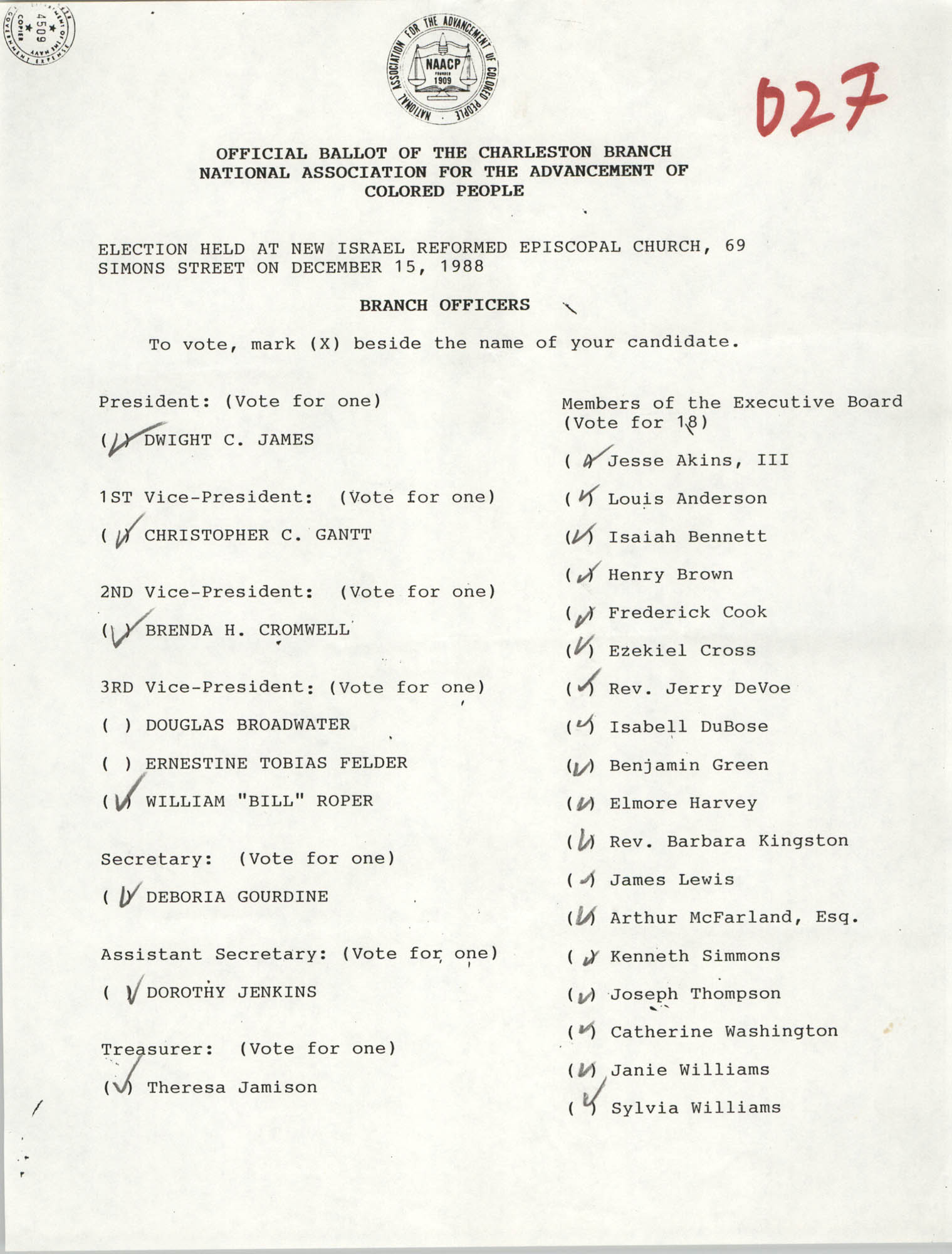 Official Ballot of the Charleston Branch of the NAACP, 027