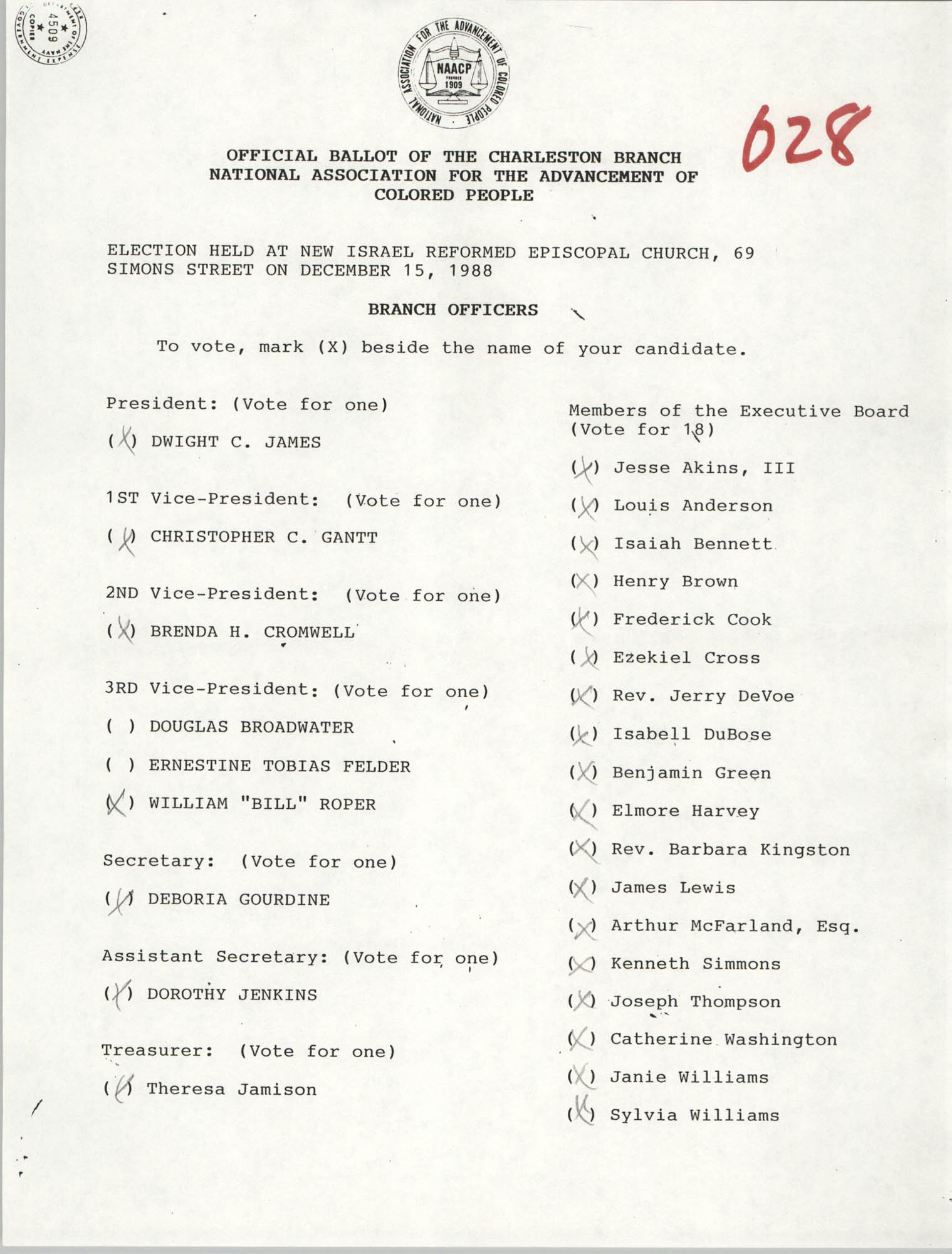 Official Ballot of the Charleston Branch of the NAACP, 028