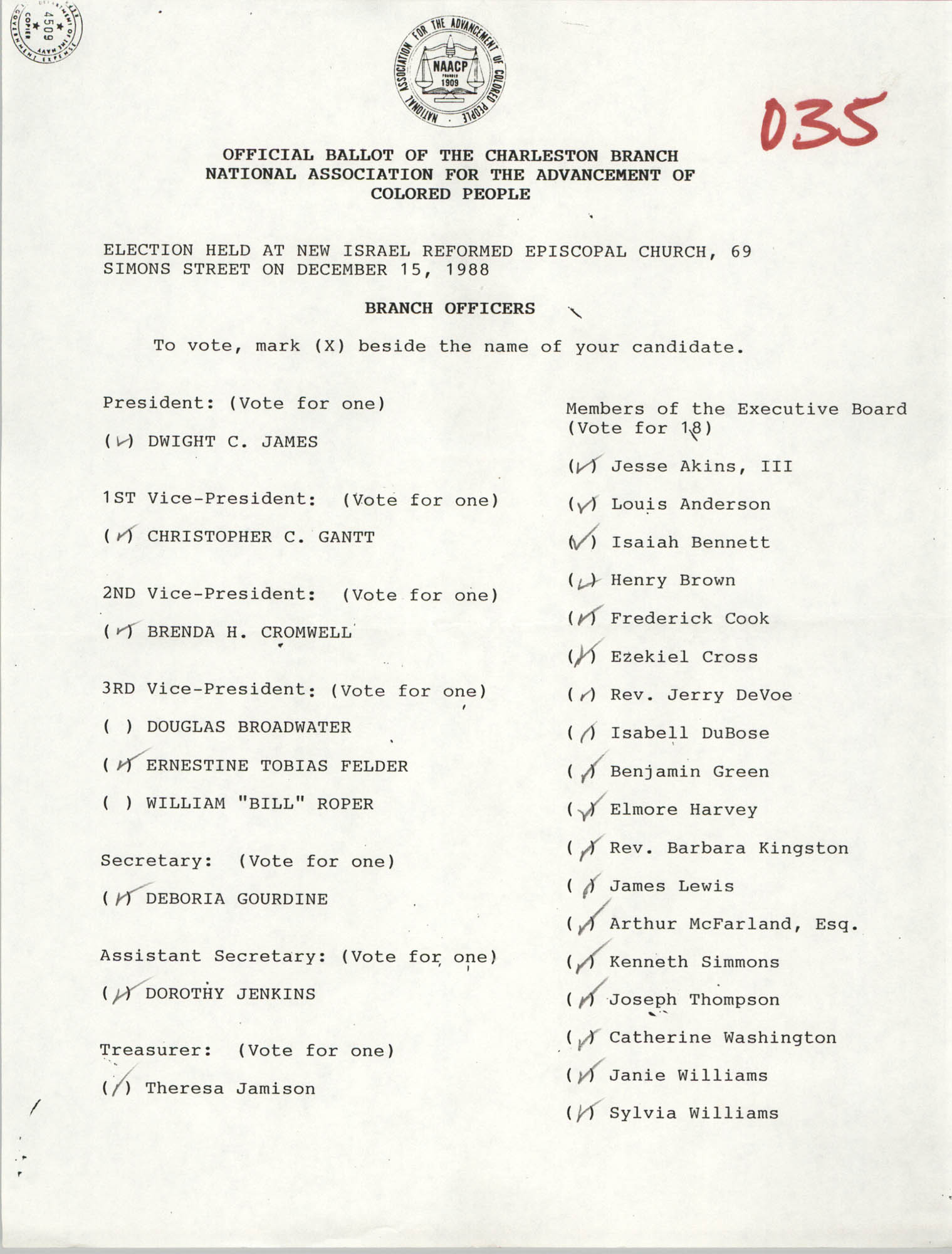 Official Ballot of the Charleston Branch of the NAACP, 035
