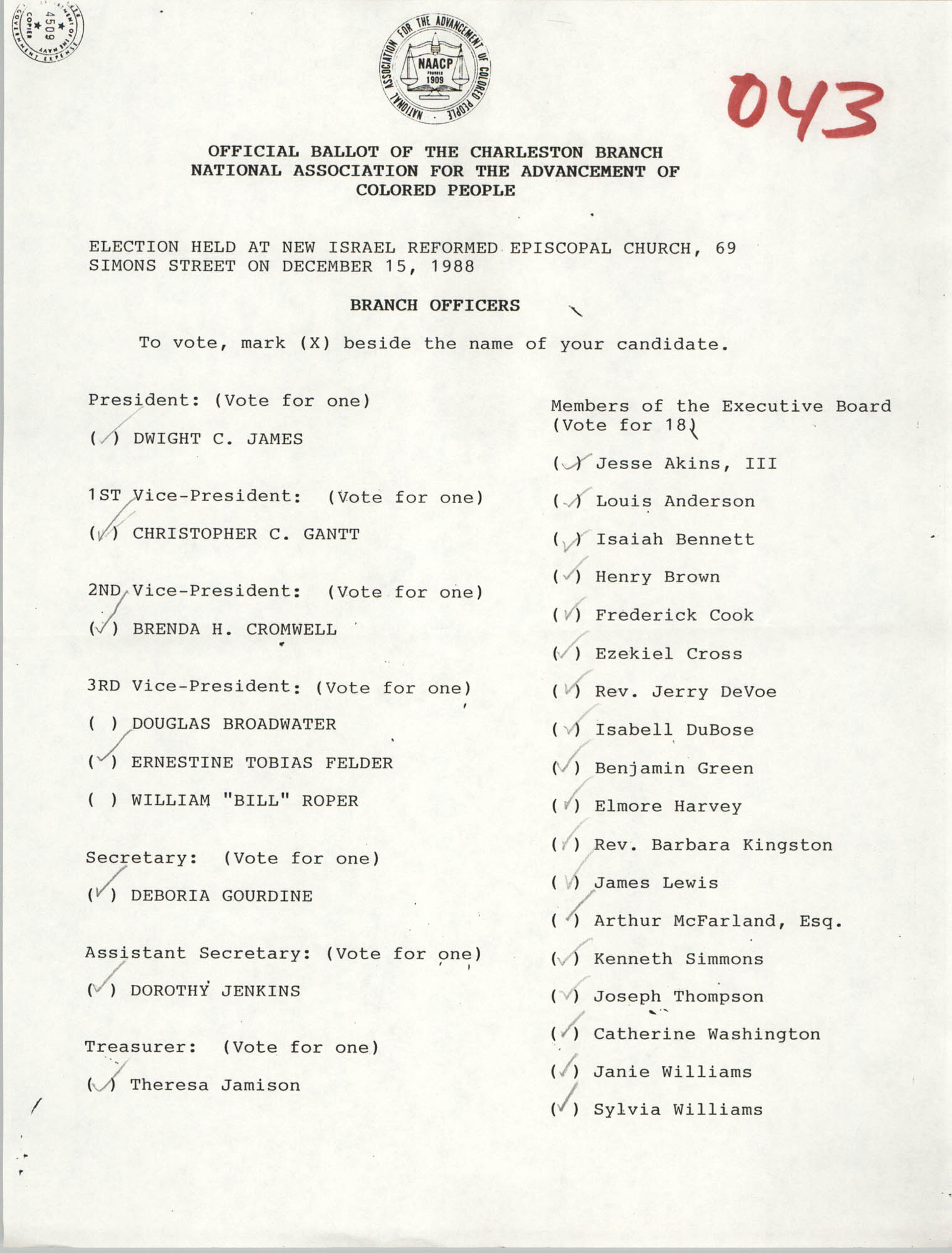 Official Ballot of the Charleston Branch of the NAACP, 043