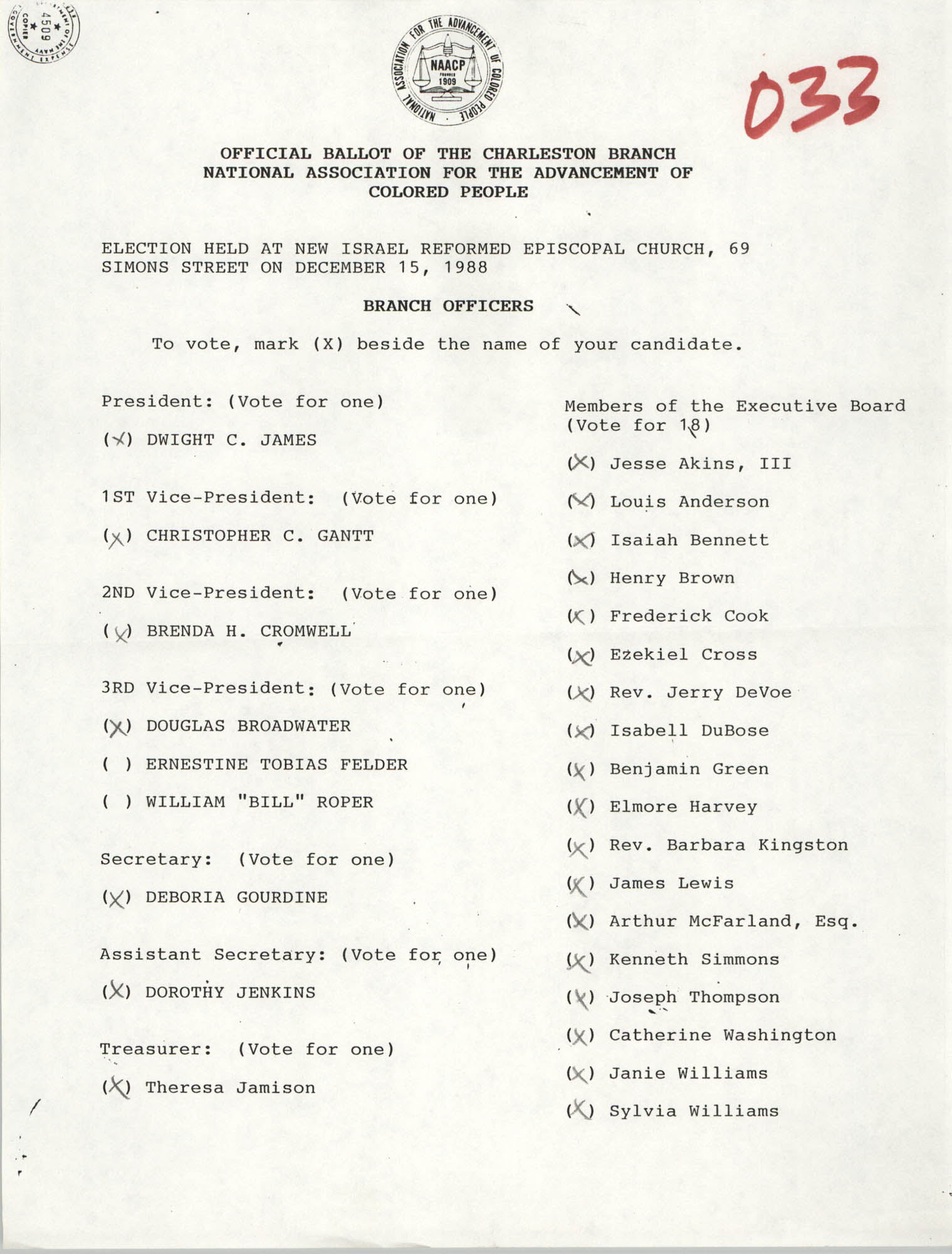 Official Ballot of the Charleston Branch of the NAACP, 033
