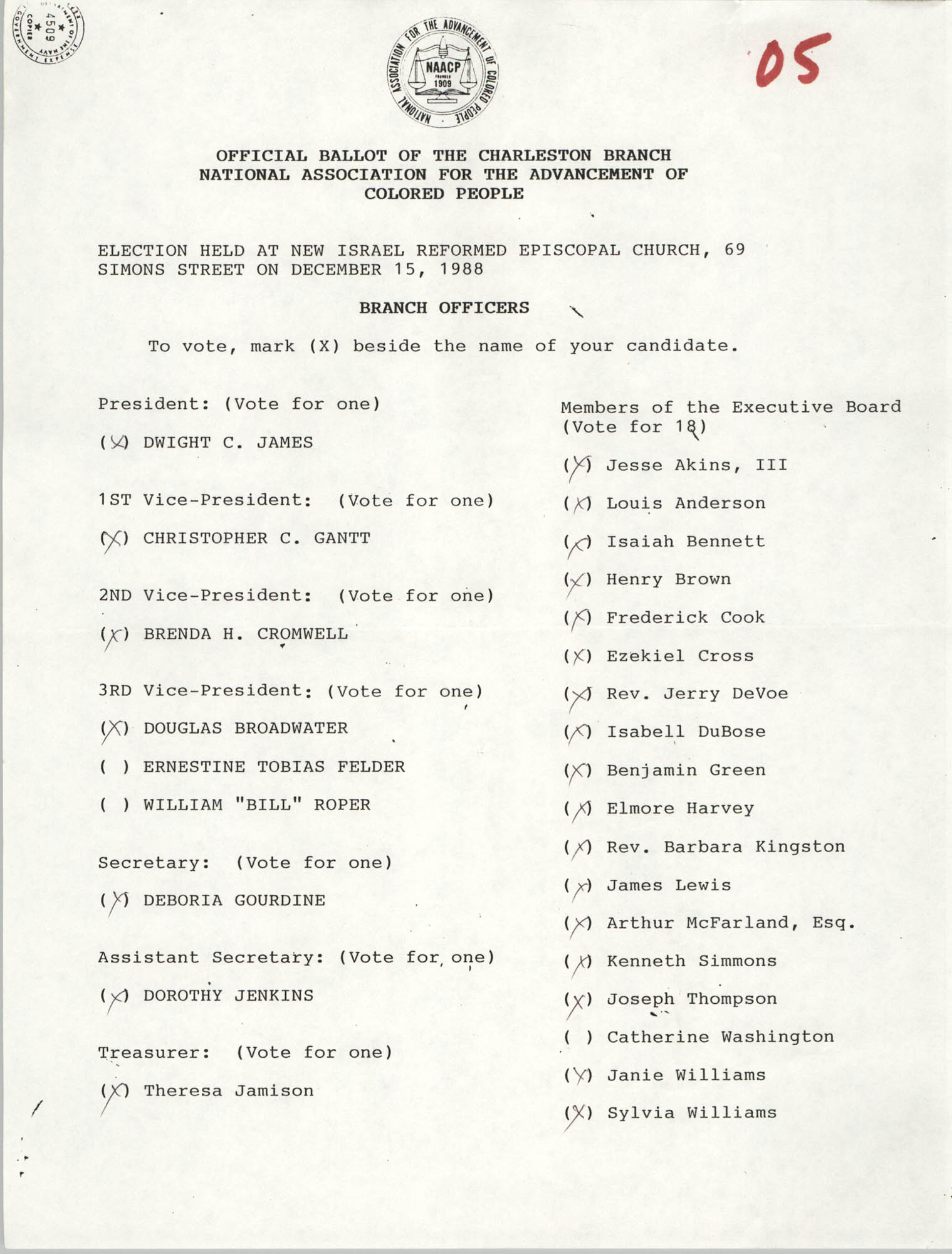 Official Ballot of the Charleston Branch of the NAACP, 05