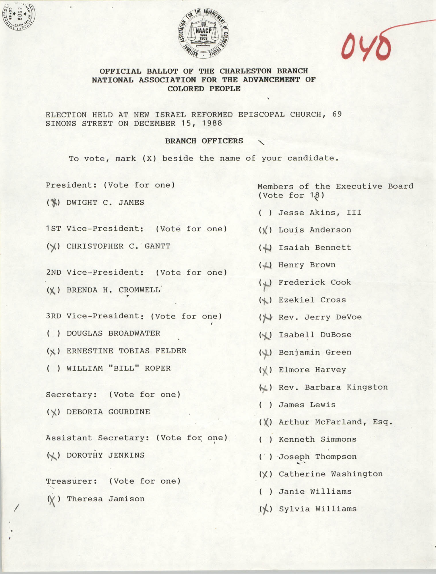 Official Ballot of the Charleston Branch of the NAACP, 040