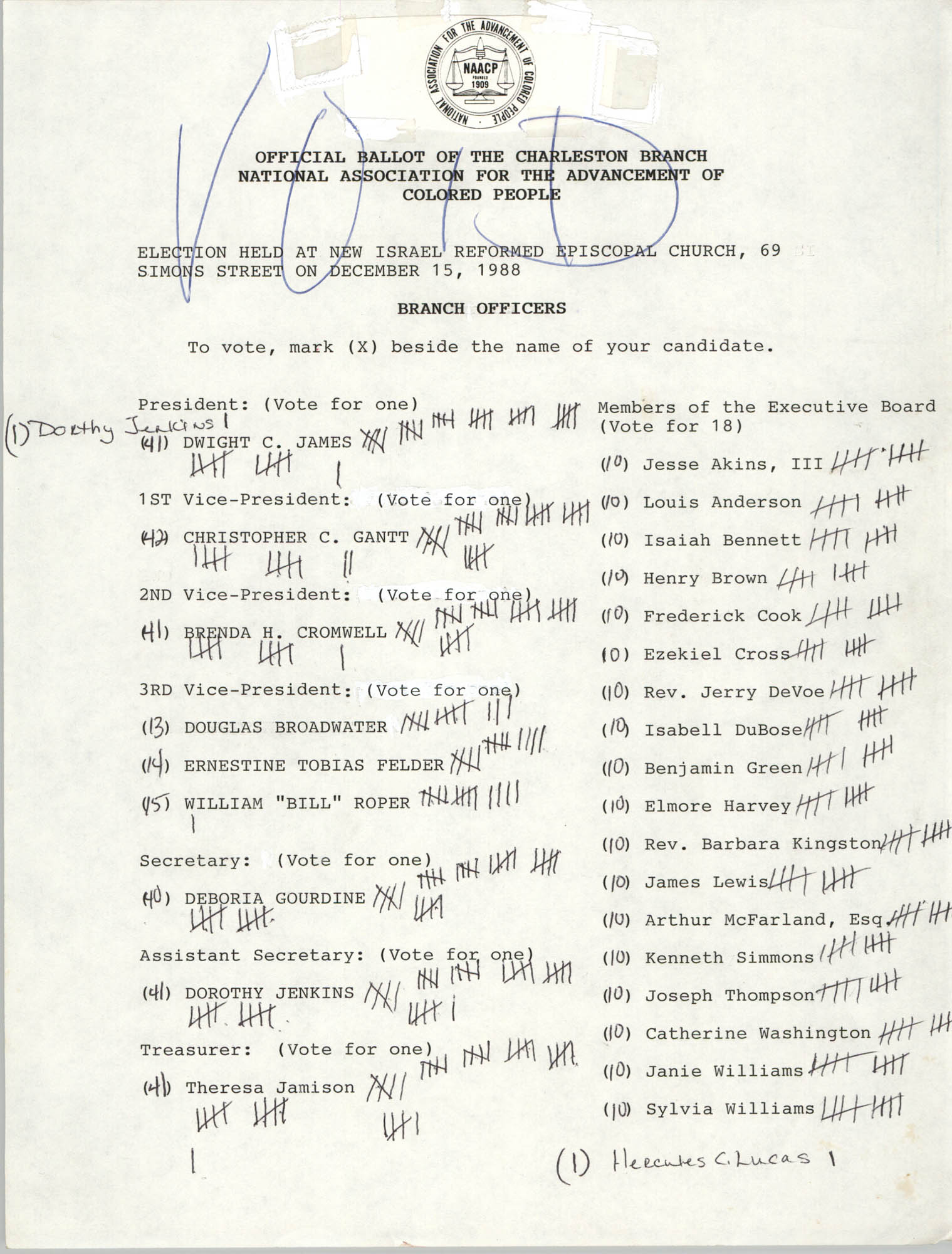 Official Ballot of the Charleston Branch of the NAACP, Void 2