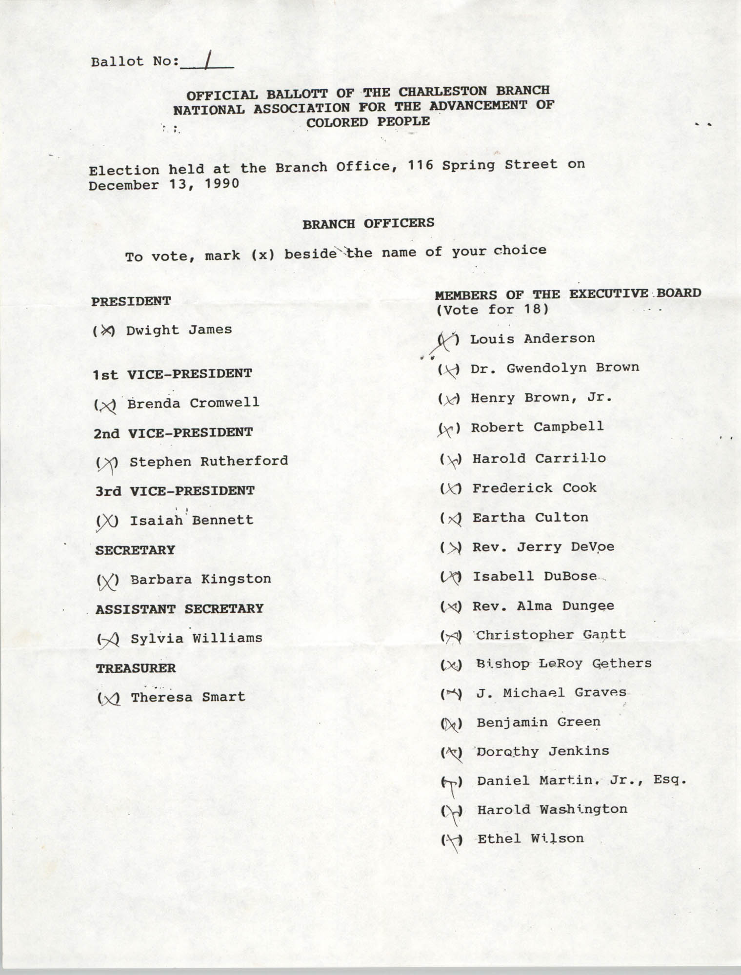 Official Ballots of the Charleston Branch of the NAACP, 1