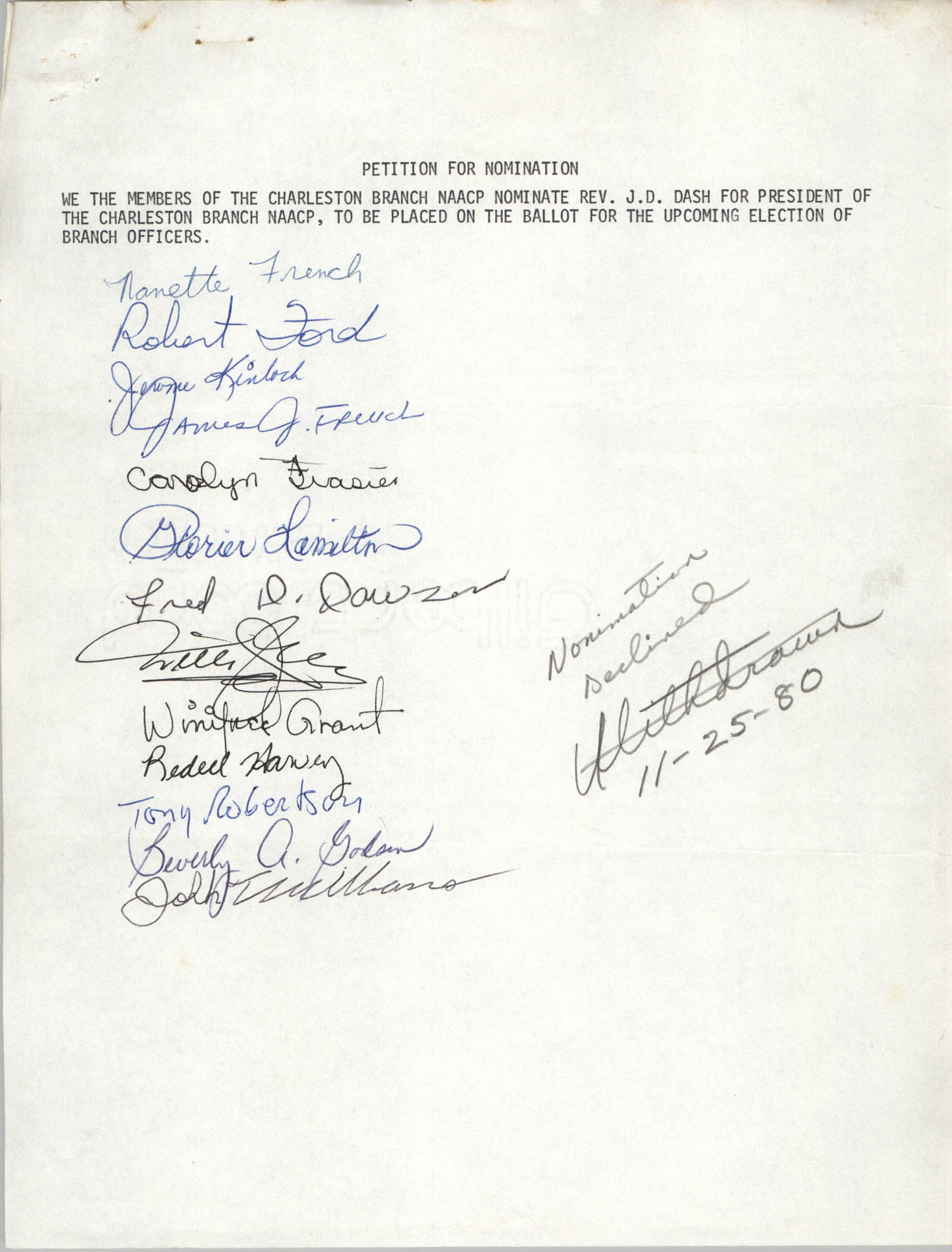 Charleston Branch of the NAACP Election Materials, Petition for Nomination 1