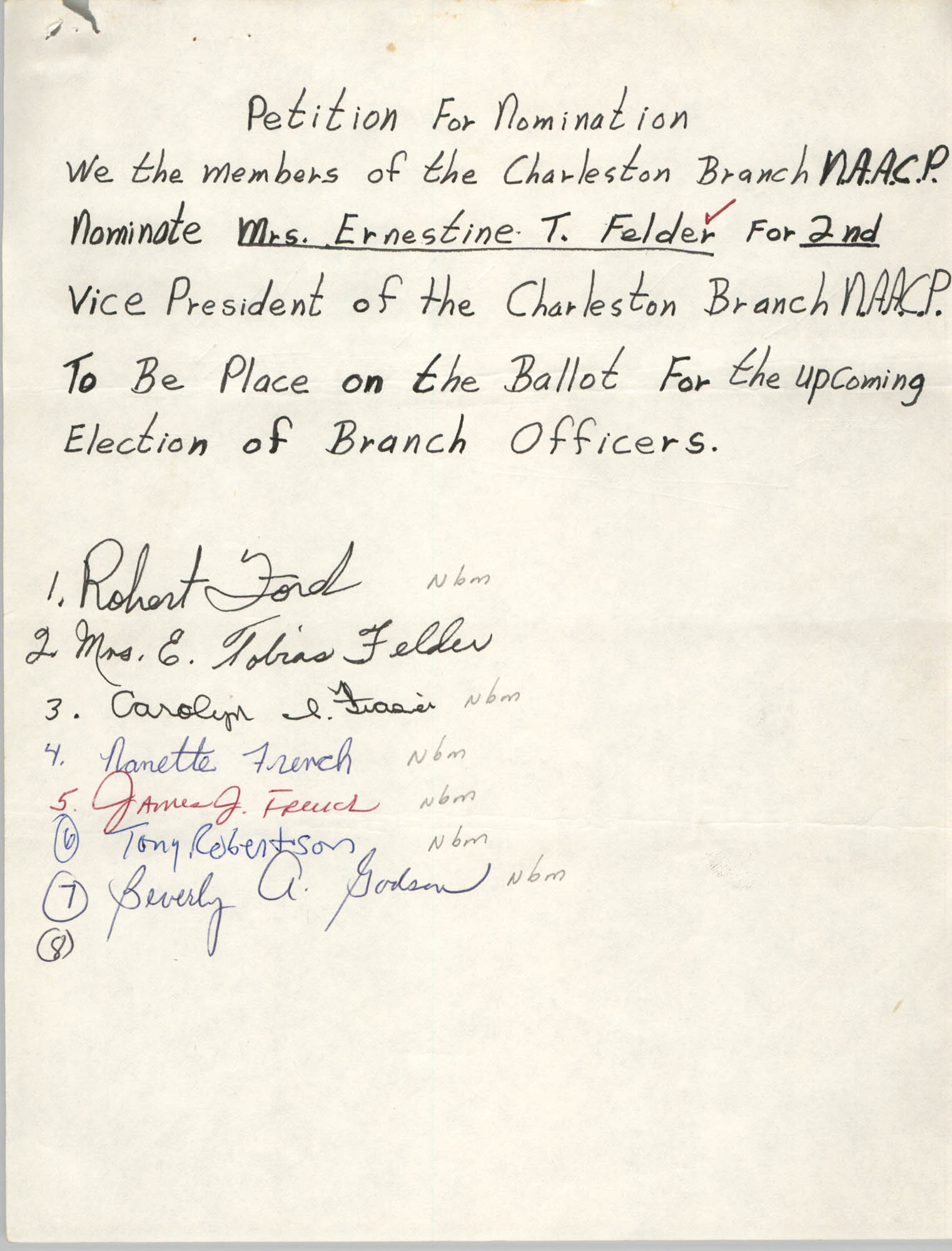 Charleston Branch of the NAACP Election Materials, Petition for Nomination 3