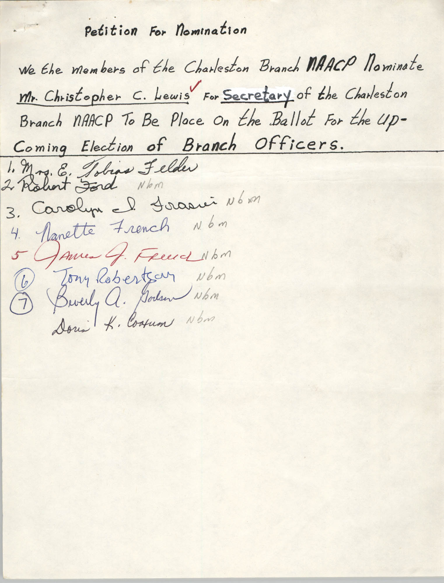 Charleston Branch of the NAACP Election Materials, Petition for Nomination 4