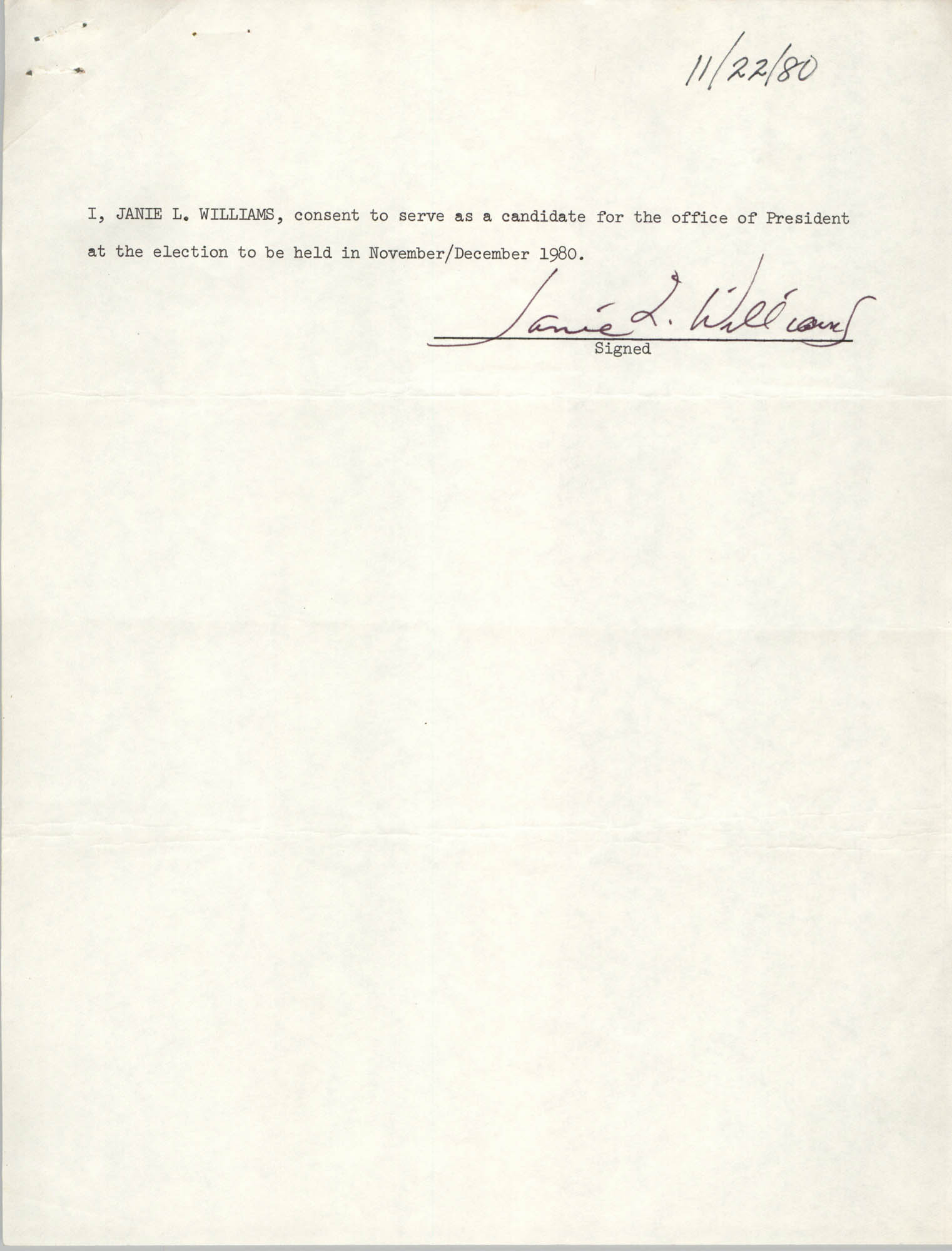 Charleston Branch of the NAACP Election Materials, Janie L. Williams Consent Form