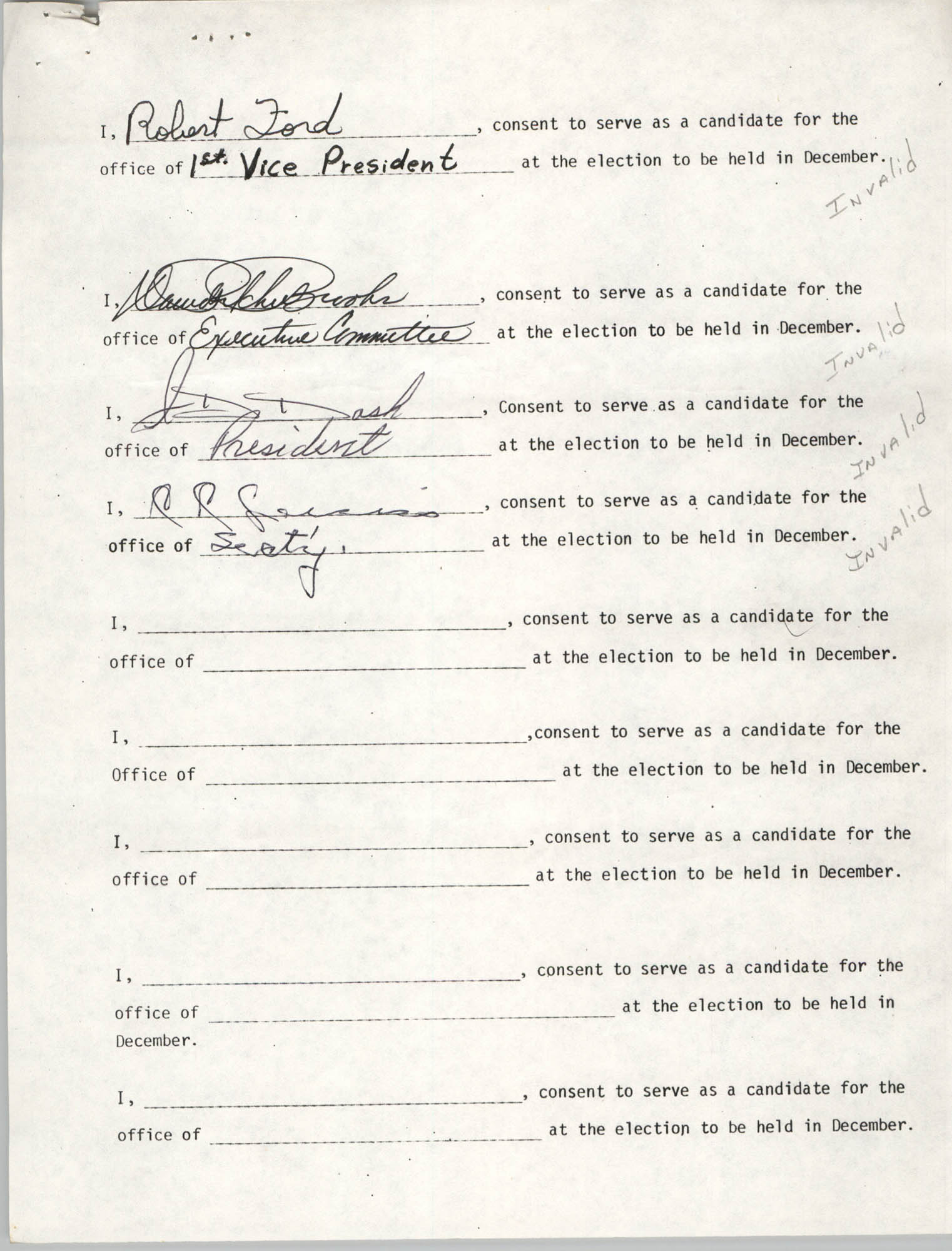 Charleston Branch of the NAACP Election Materials, Consent Form 2