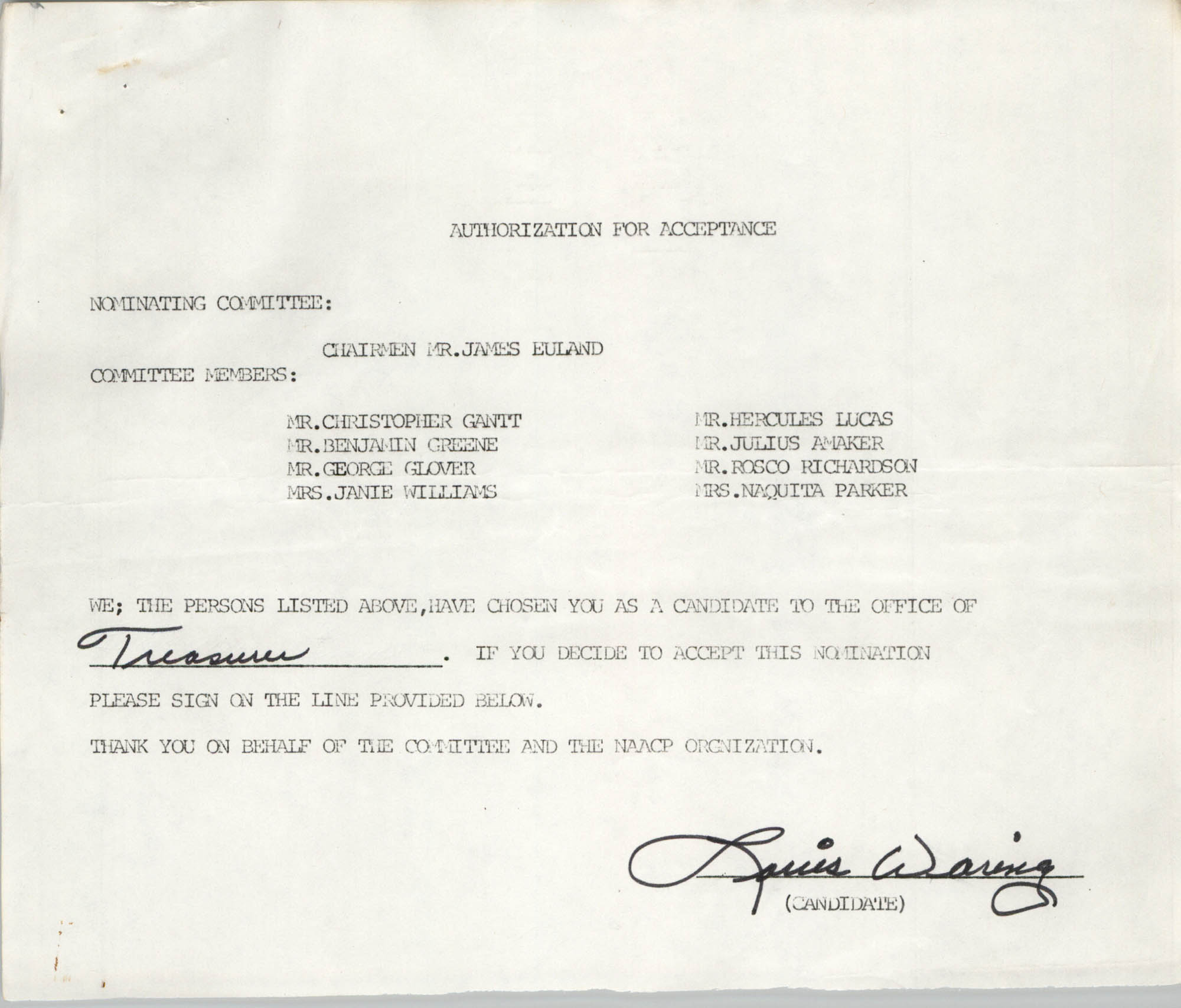 Charleston Branch of the NAACP Election Materials, Authorization for Acceptance for Louis Waring