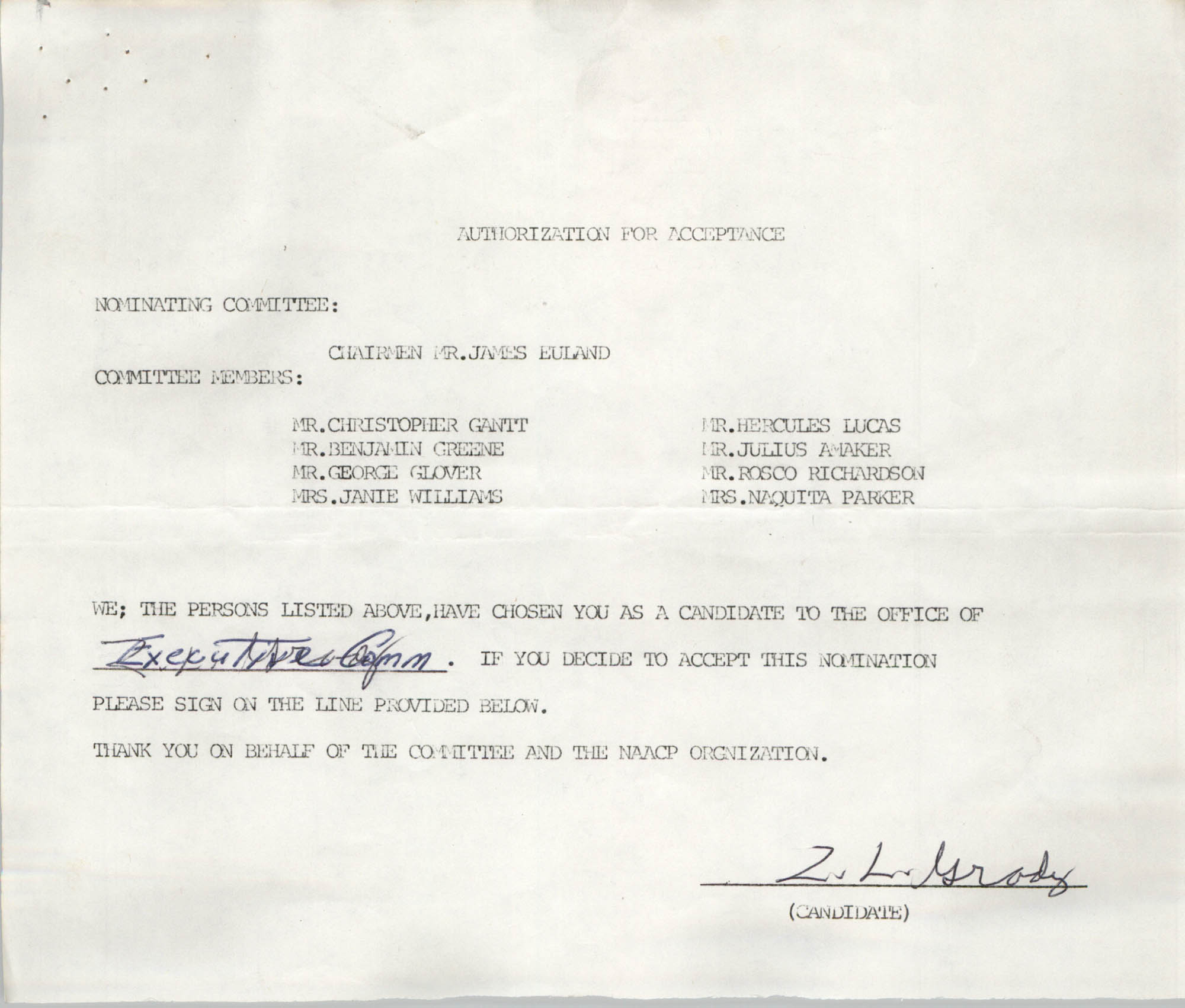 Charleston Branch of the NAACP Election Materials, Authorization for Acceptance for Z. L. Grady