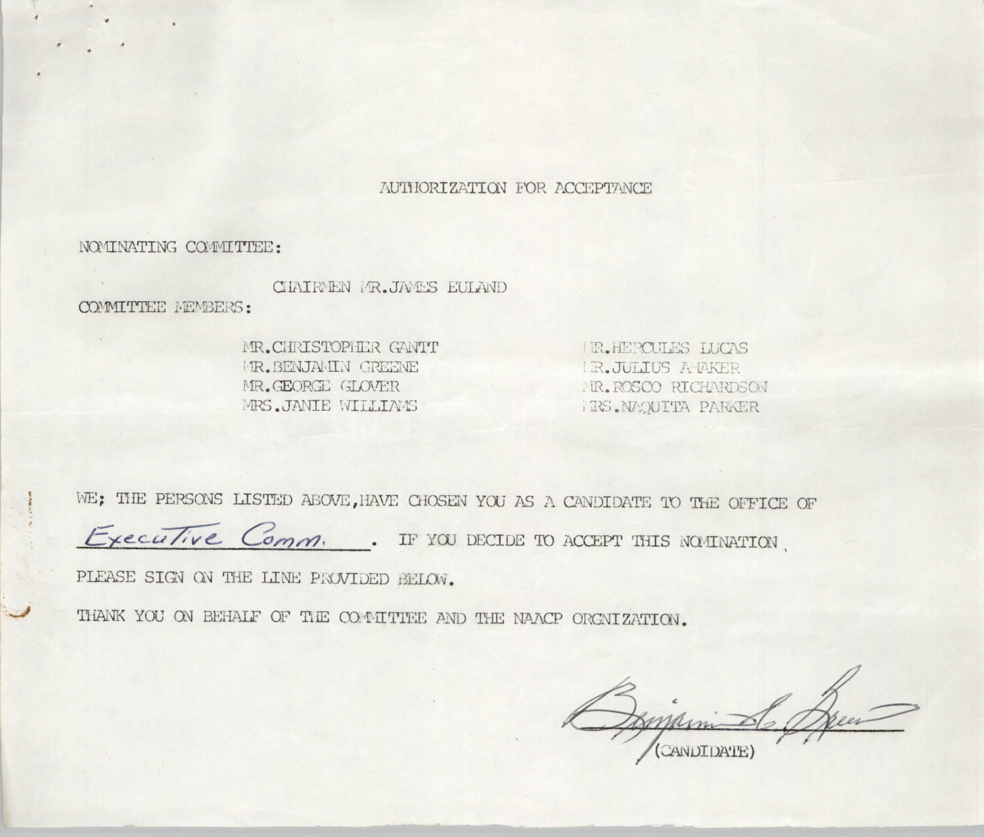 Charleston Branch of the NAACP Election Materials, Authorization for Acceptance for Benjamin Greene