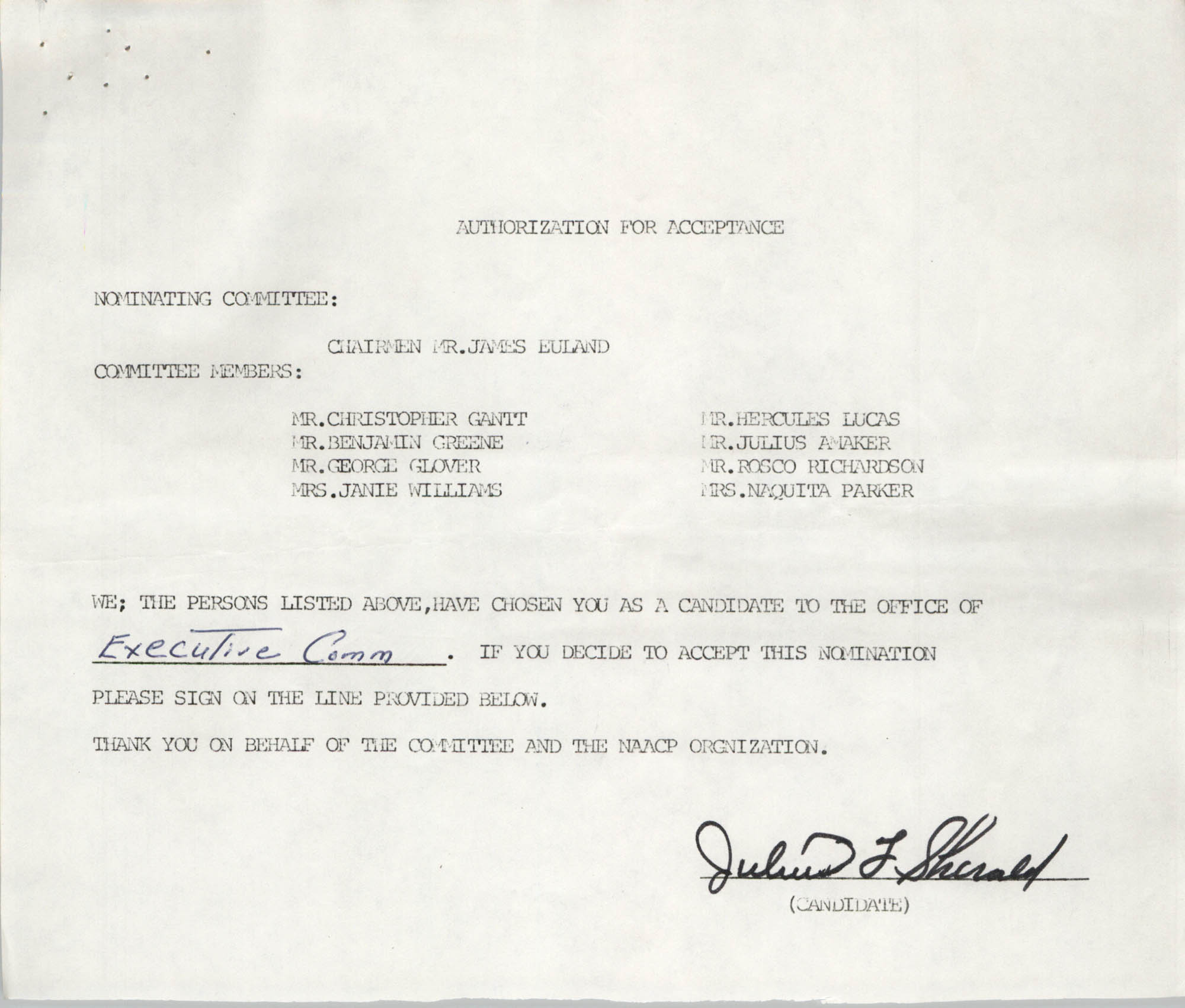 Charleston Branch of the NAACP Election Materials, Authorization for Acceptance