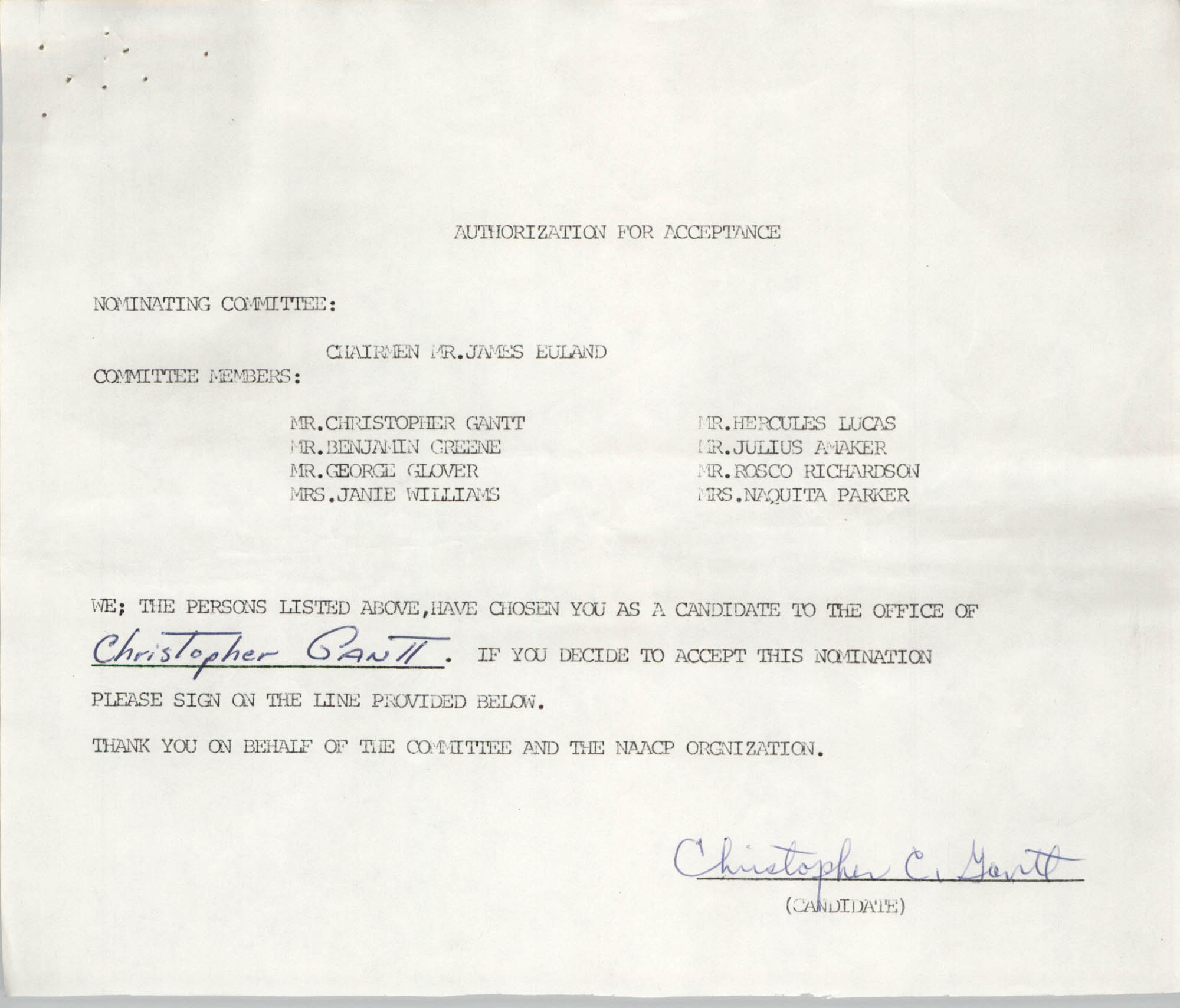 Charleston Branch of the NAACP Election Materials, Authorization for Acceptance for Christopher C. Gantt