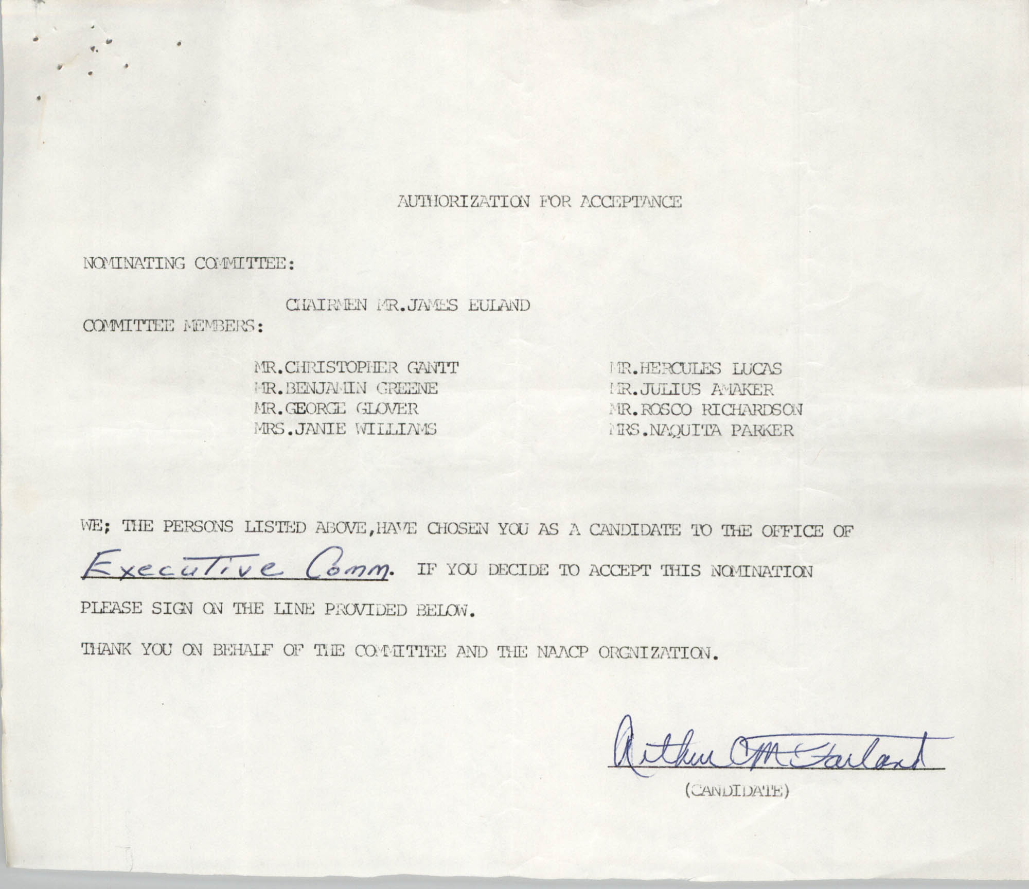 Charleston Branch of the NAACP Election Materials, Authorization for Acceptance for Arthur McFarland