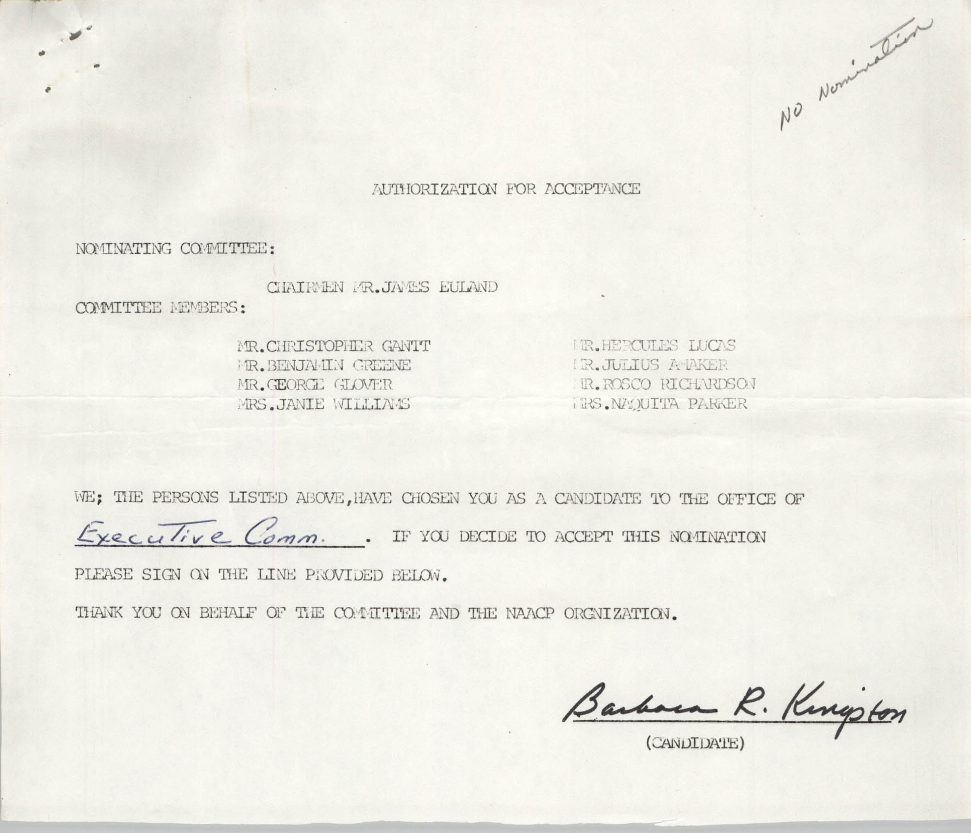 Charleston Branch of the NAACP Election Materials, Authorization for Acceptance for Barbara R. Kingston