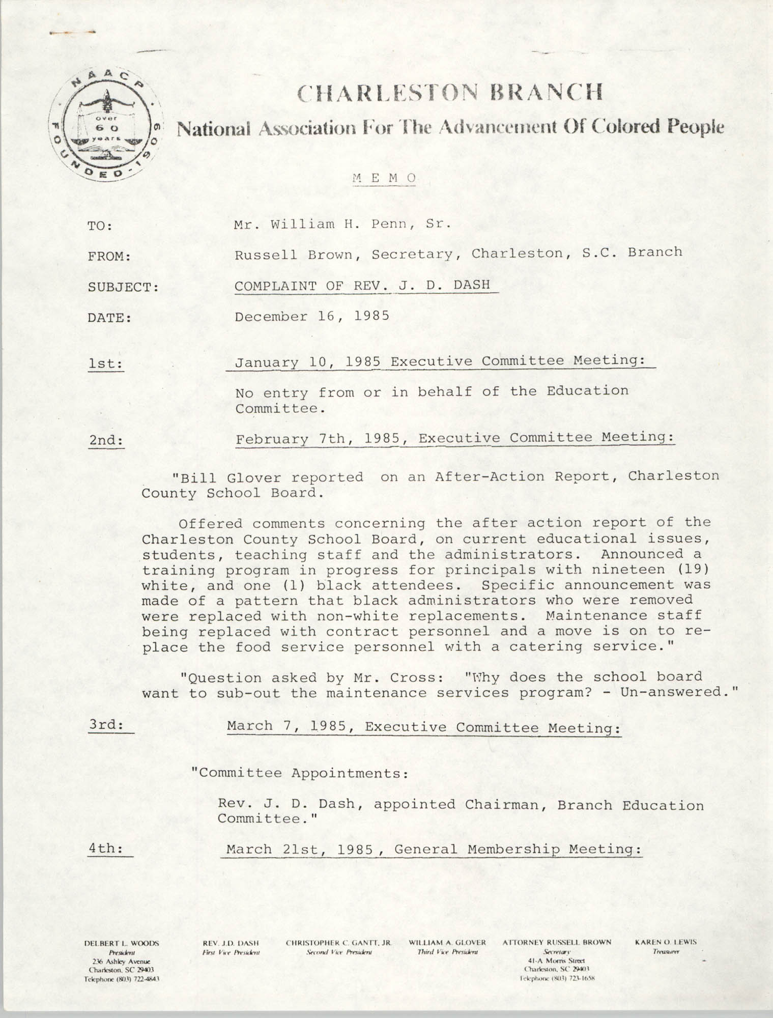 Charleston Branch of the NAACP Memorandum, December 16, 1985, Page 1
