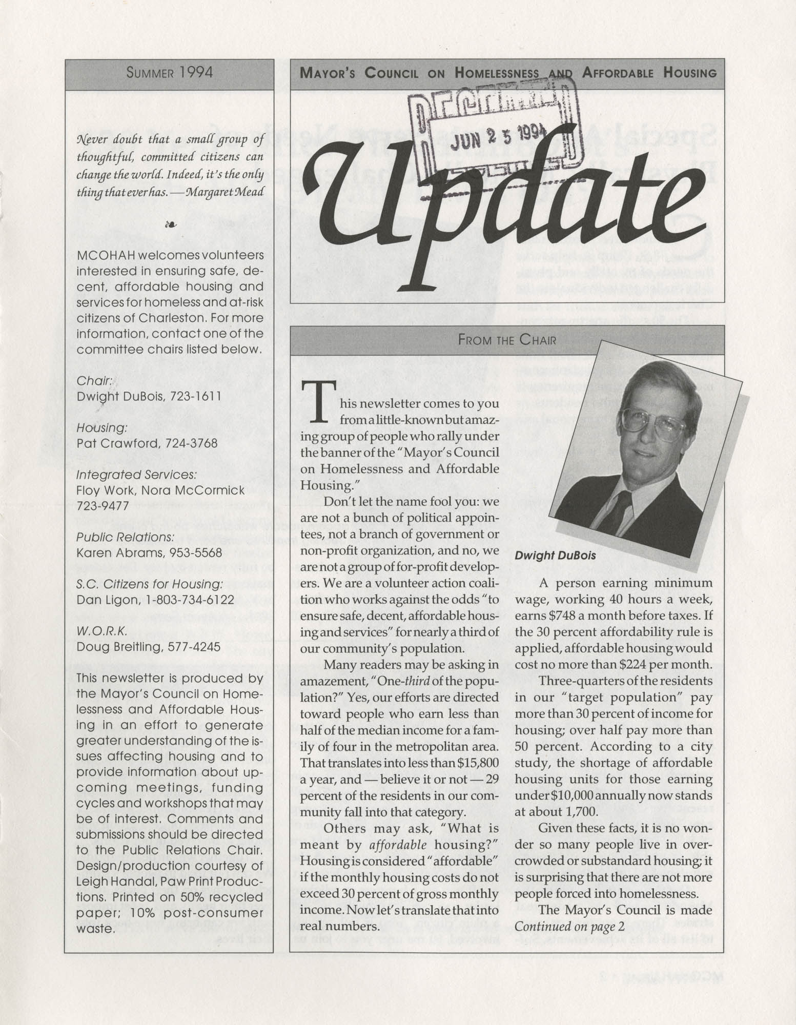 Mayor's Council on Homelessness and Affordable Housing Update Newsletter, Summer 1994, Page 1