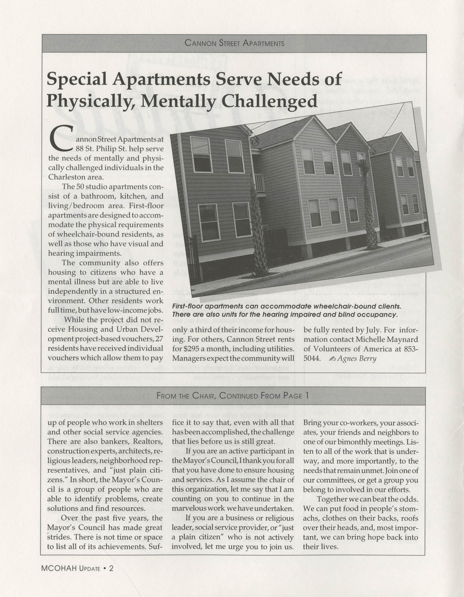 Mayor's Council on Homelessness and Affordable Housing Update Newsletter, Summer 1994, Page 2