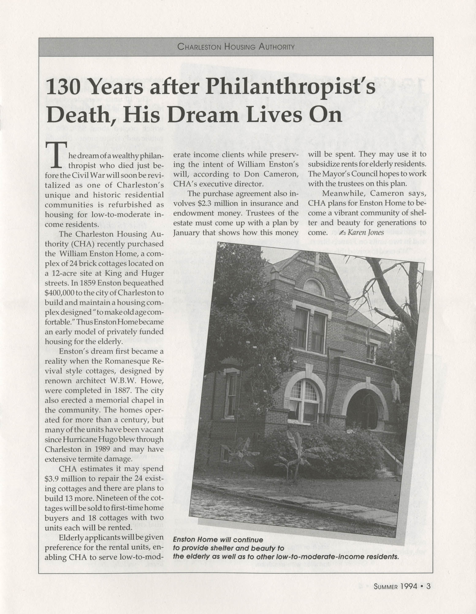 Mayor's Council on Homelessness and Affordable Housing Update Newsletter, Summer 1994, Page 3