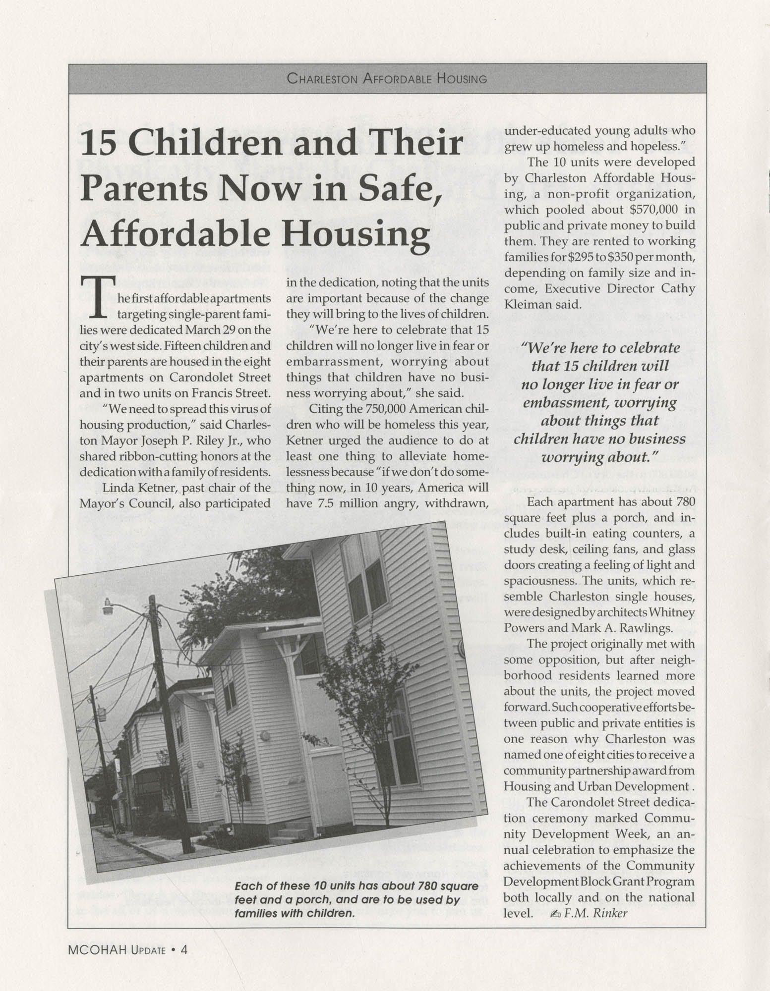 Mayor's Council on Homelessness and Affordable Housing Update Newsletter, Summer 1994, Page 4