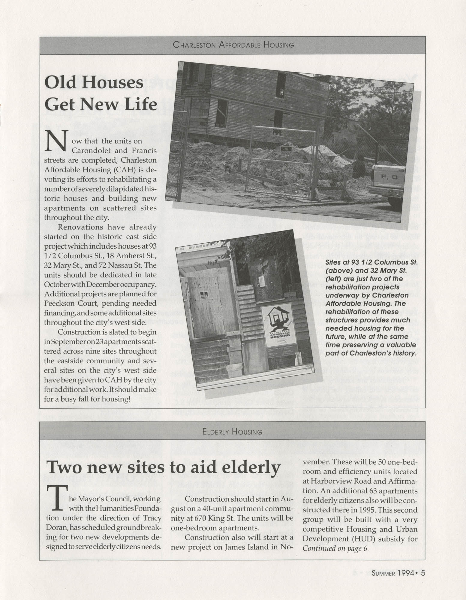 Mayor's Council on Homelessness and Affordable Housing Update Newsletter, Summer 1994, Page 5
