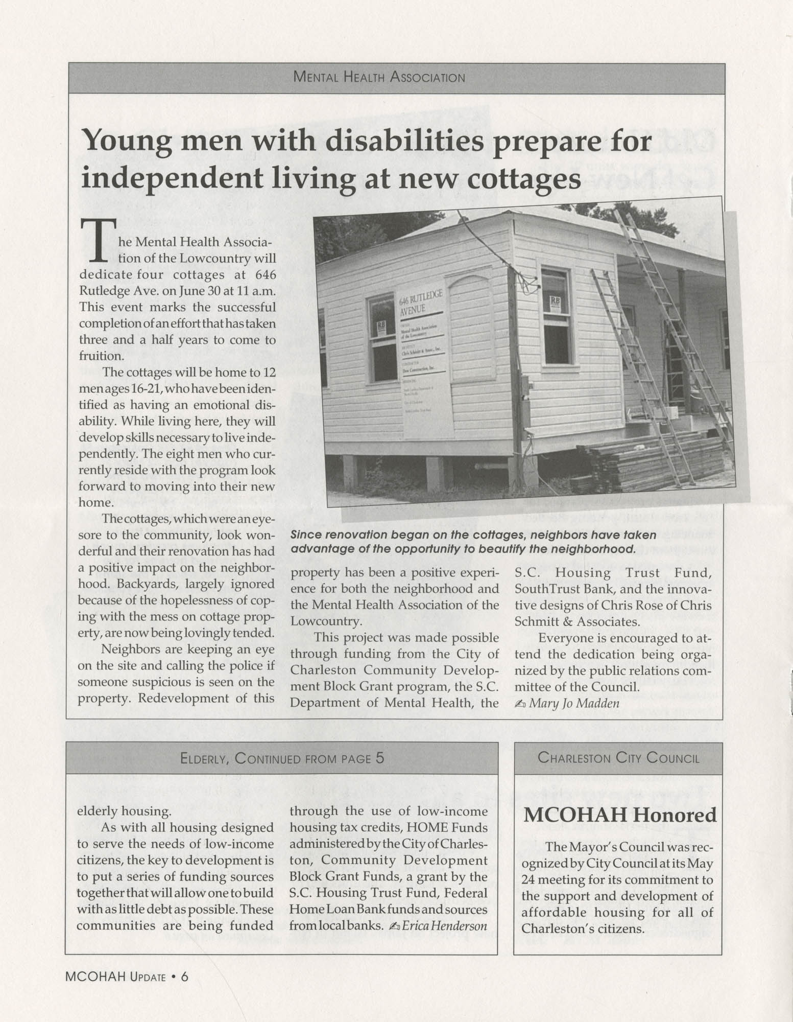 Mayor's Council on Homelessness and Affordable Housing Update Newsletter, Summer 1994, Page 6