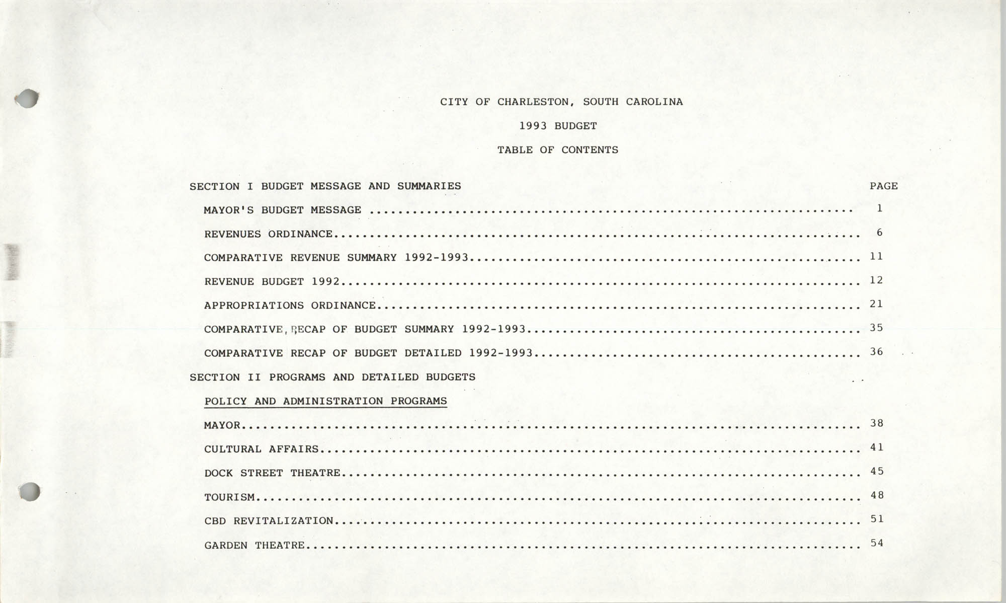 The City Council of Charleston, South Carolina, 1993 Budget, Table of Contents Page 1