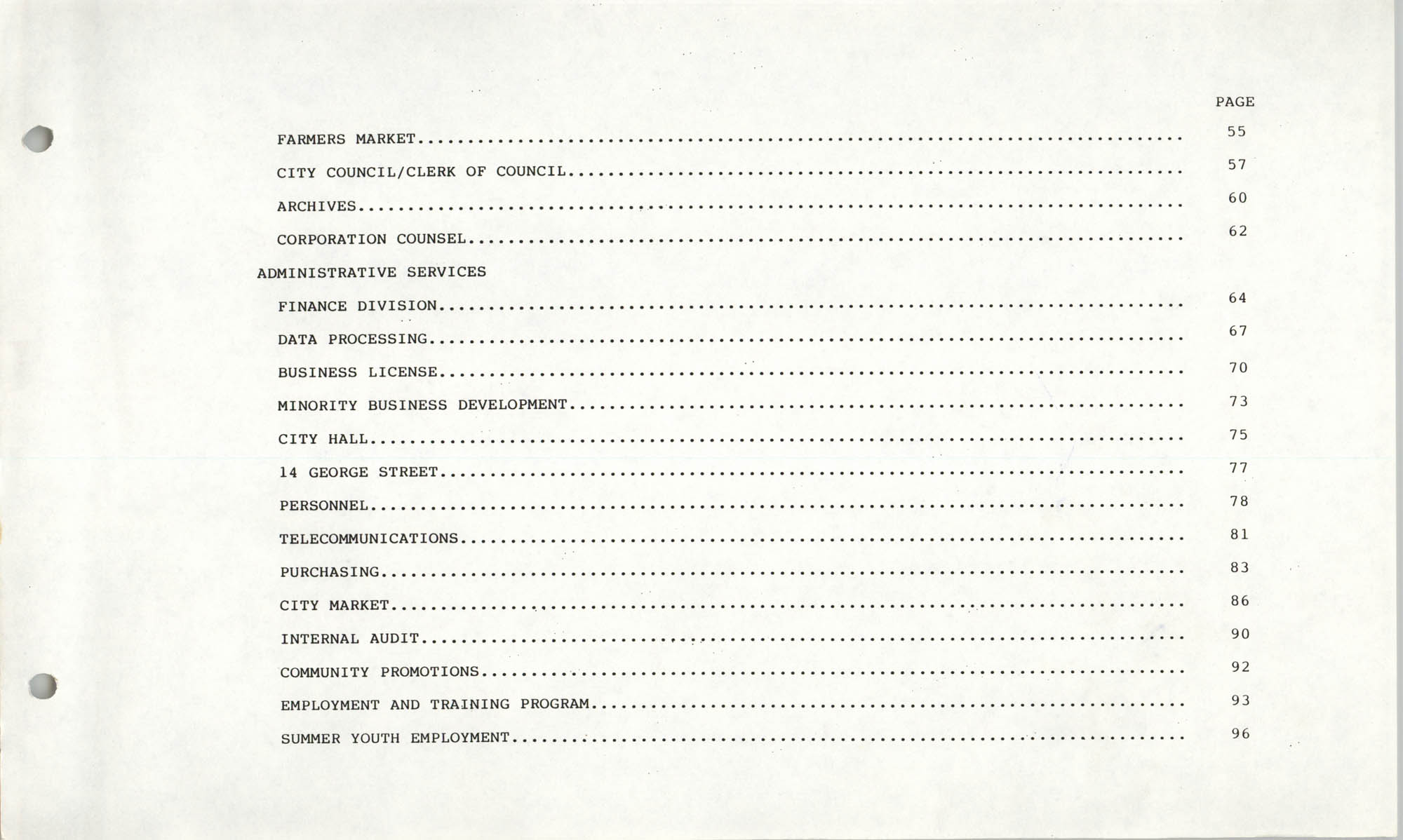 The City Council of Charleston, South Carolina, 1993 Budget, Table of Contents Page 2