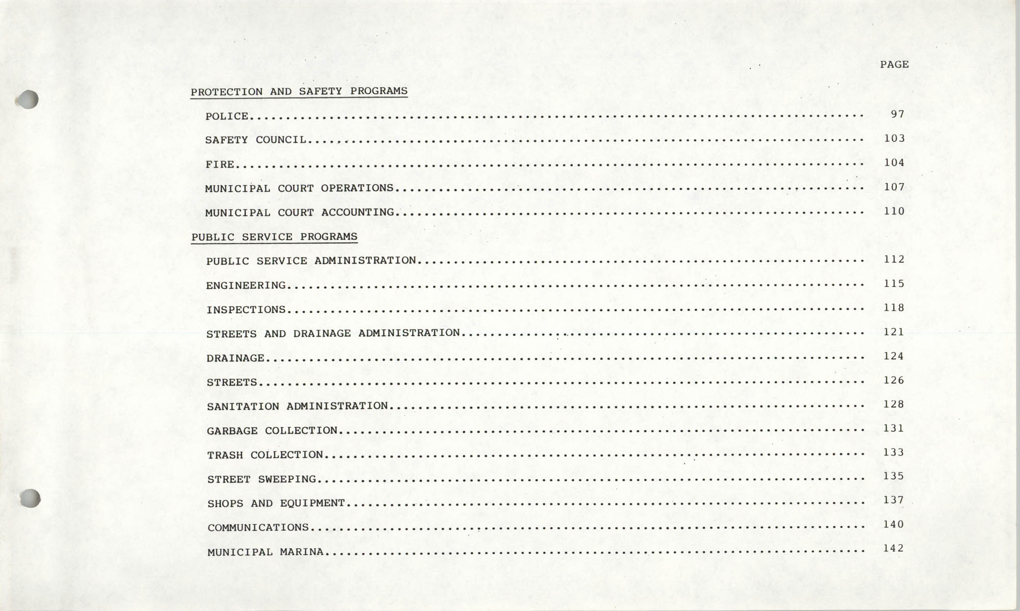 The City Council of Charleston, South Carolina, 1993 Budget, Table of Contents Page 3