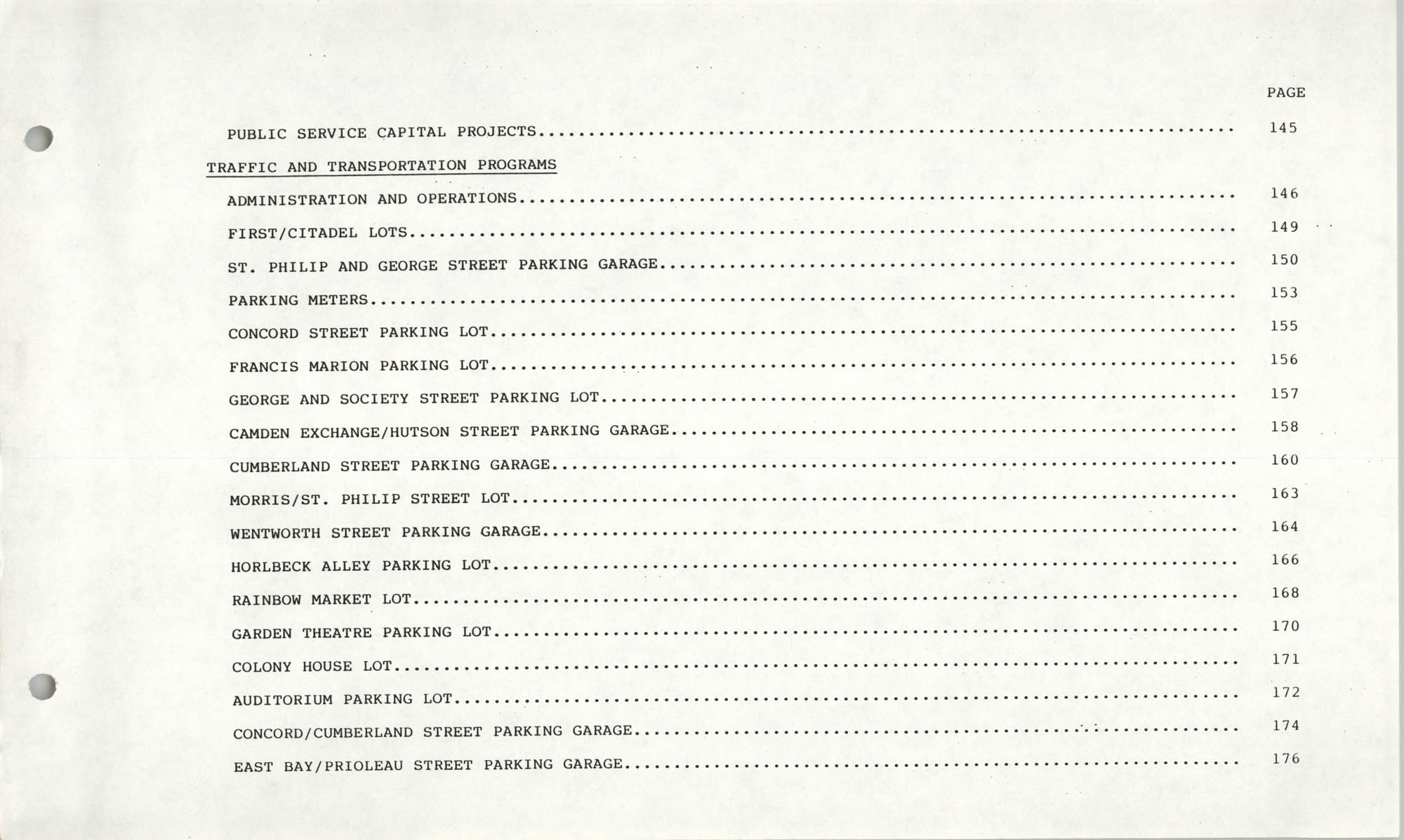 The City Council of Charleston, South Carolina, 1993 Budget, Table of Contents Page 4