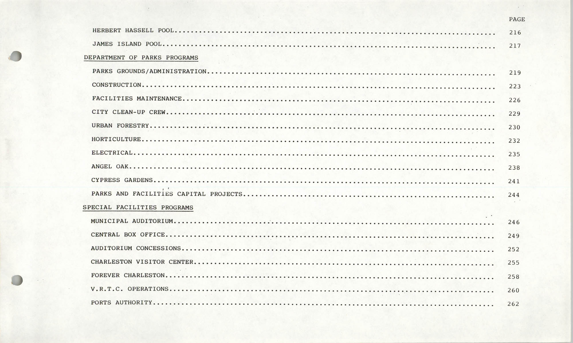 The City Council of Charleston, South Carolina, 1993 Budget, Table of Contents Page 6