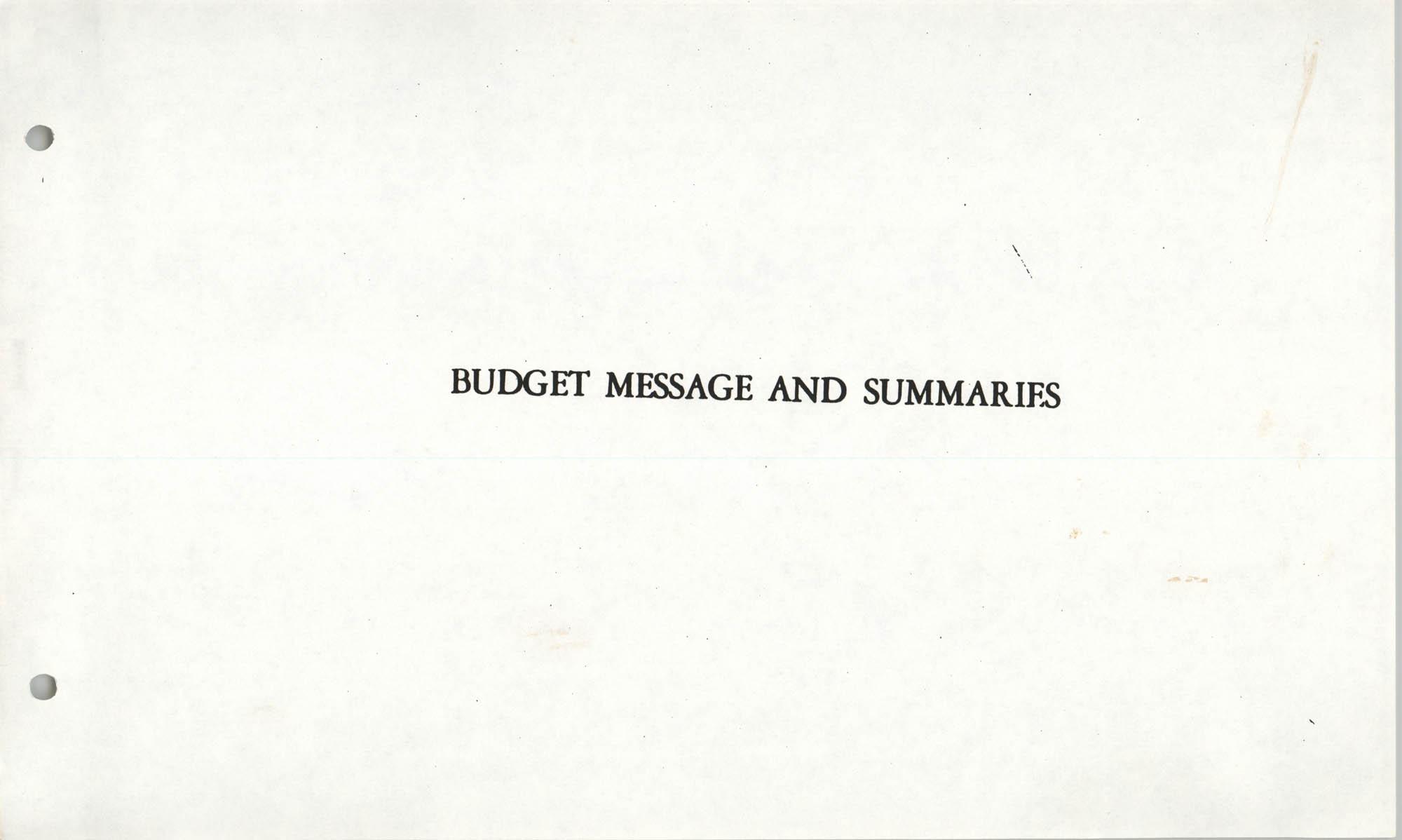 The City Council of Charleston, South Carolina, 1993 Budget, Budget Message and Summaries