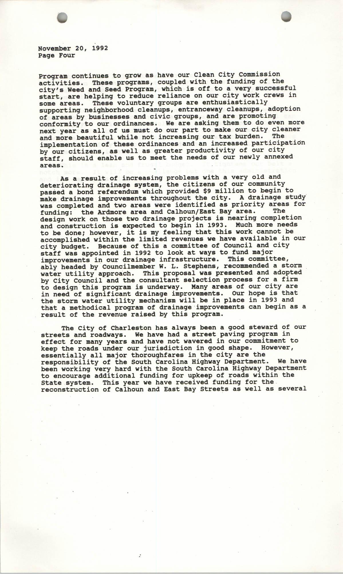 The City Council of Charleston, South Carolina, 1993 Budget, Page 4