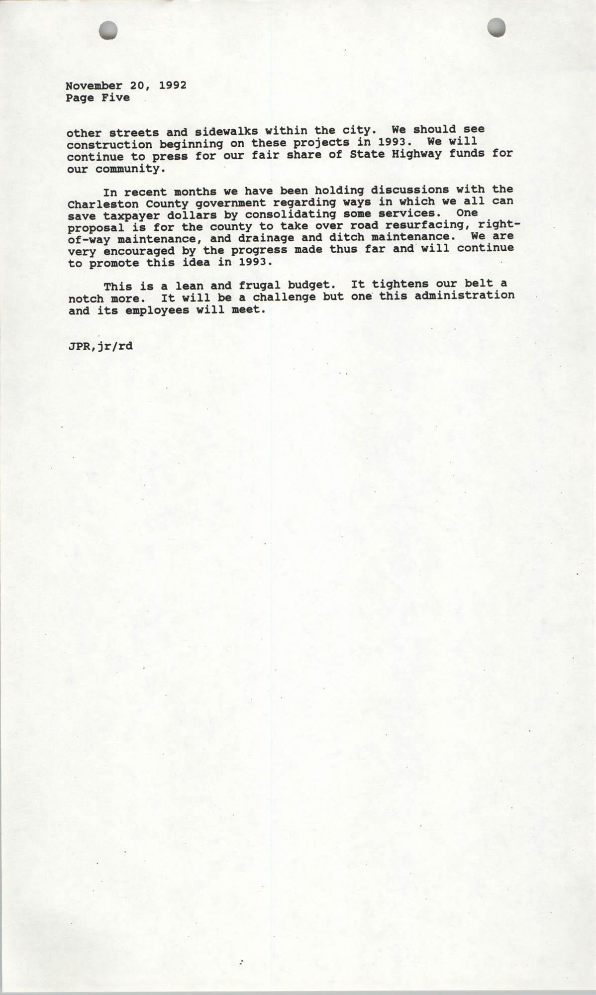 The City Council of Charleston, South Carolina, 1993 Budget, Page 5