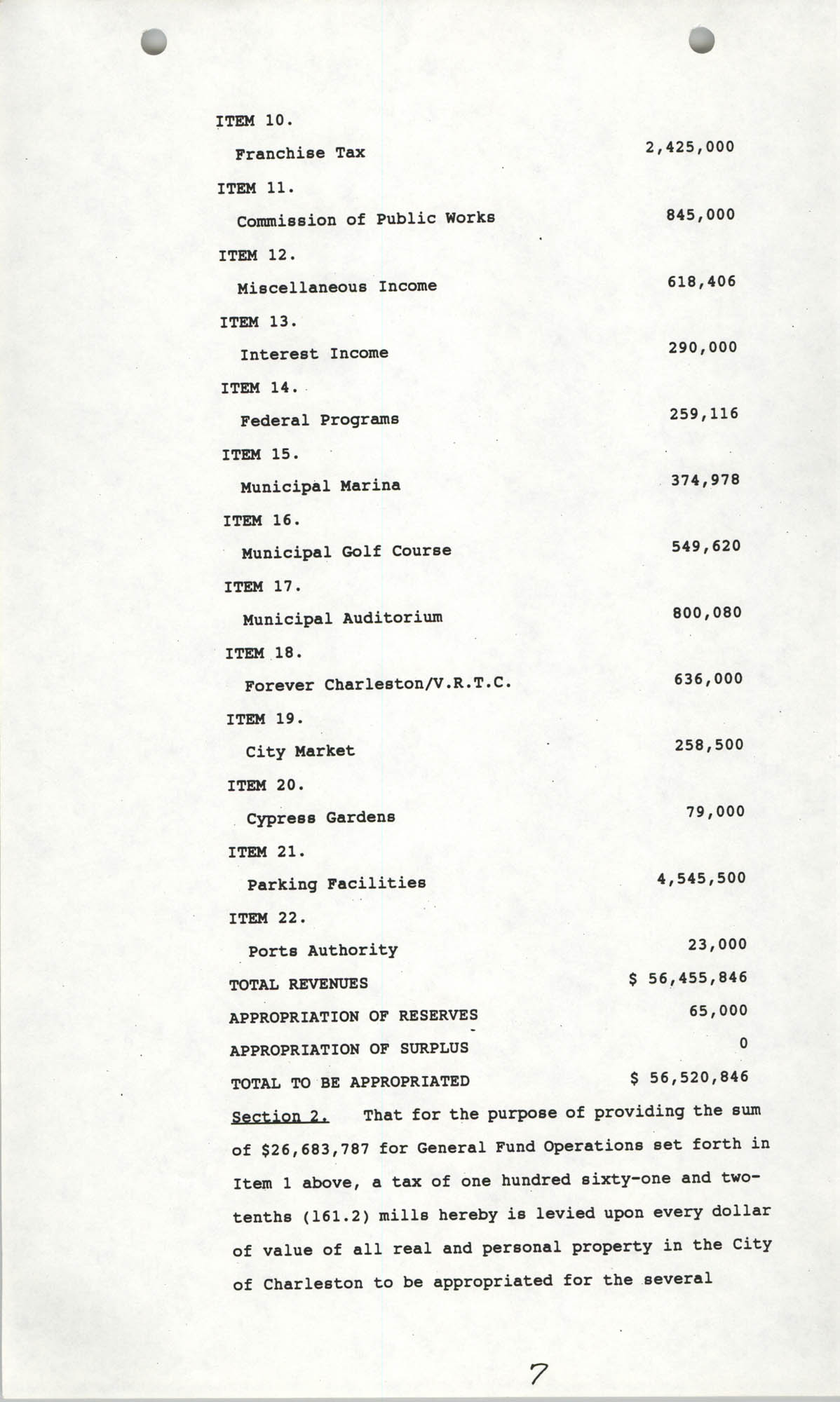 The City Council of Charleston, South Carolina, 1993 Budget, Page 7
