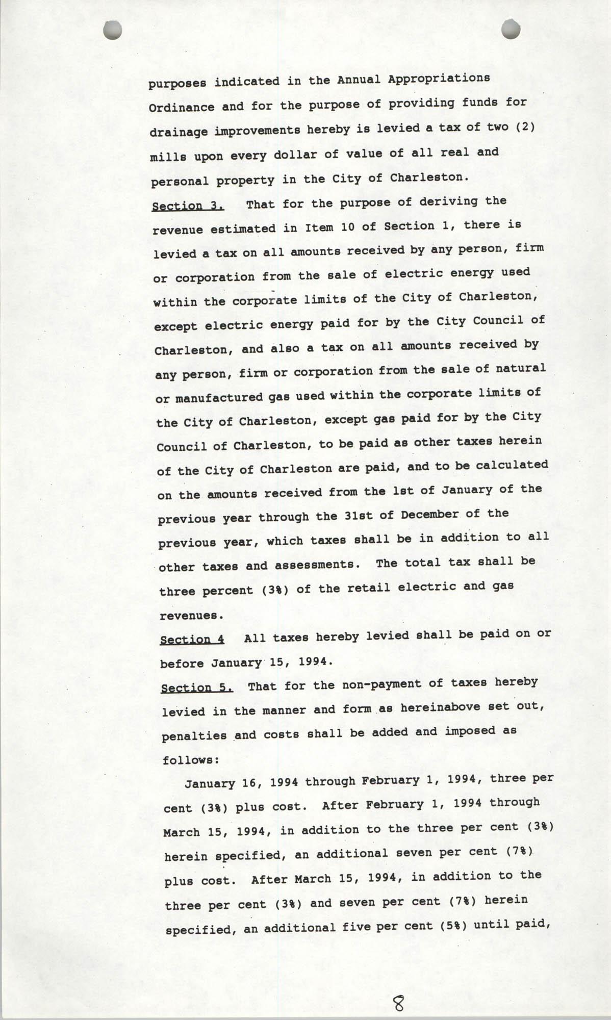 The City Council of Charleston, South Carolina, 1993 Budget, Page 8