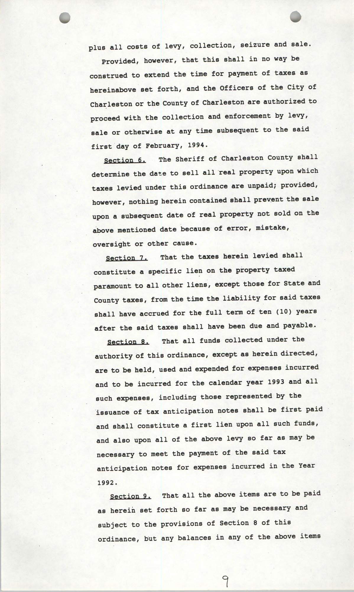 The City Council of Charleston, South Carolina, 1993 Budget, Page 9