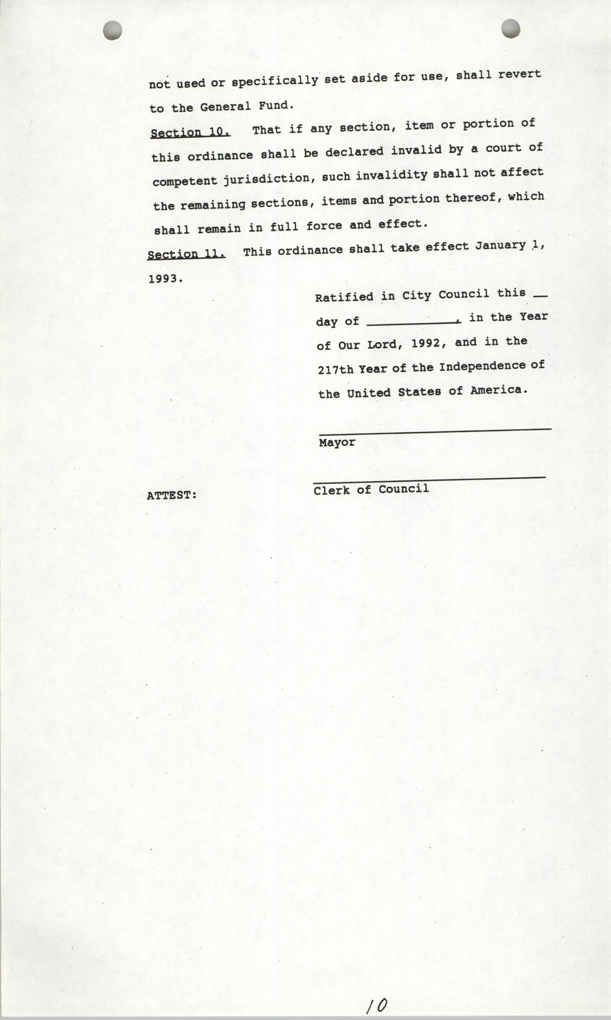 The City Council of Charleston, South Carolina, 1993 Budget, Page 10