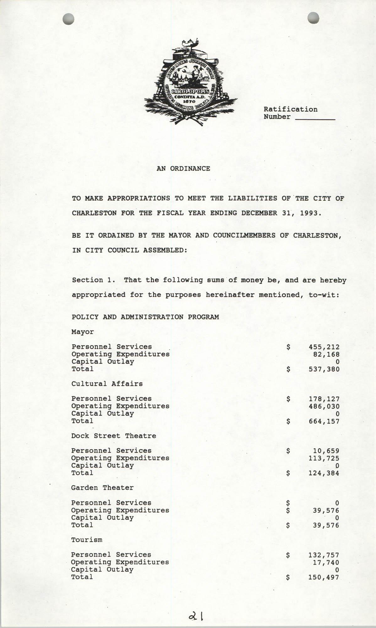 The City Council of Charleston, South Carolina, 1993 Budget, Page 21