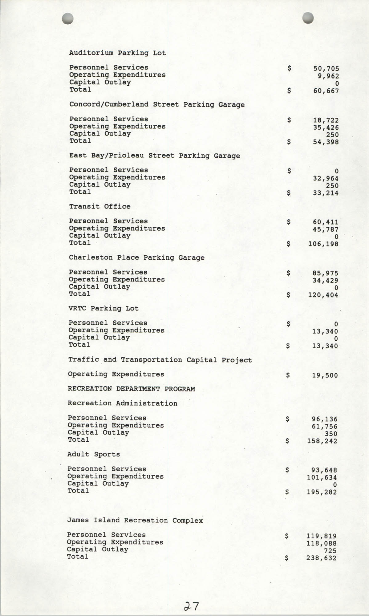 The City Council of Charleston, South Carolina, 1993 Budget, Page 27