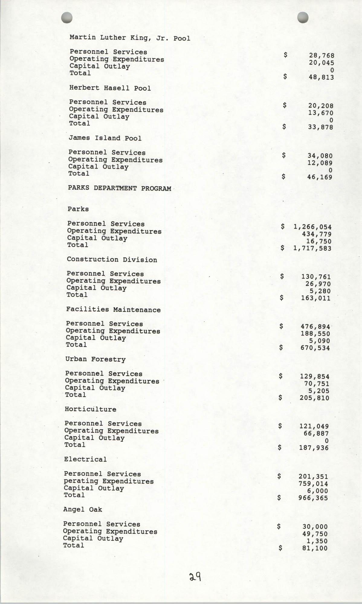 The City Council of Charleston, South Carolina, 1993 Budget, Page 29