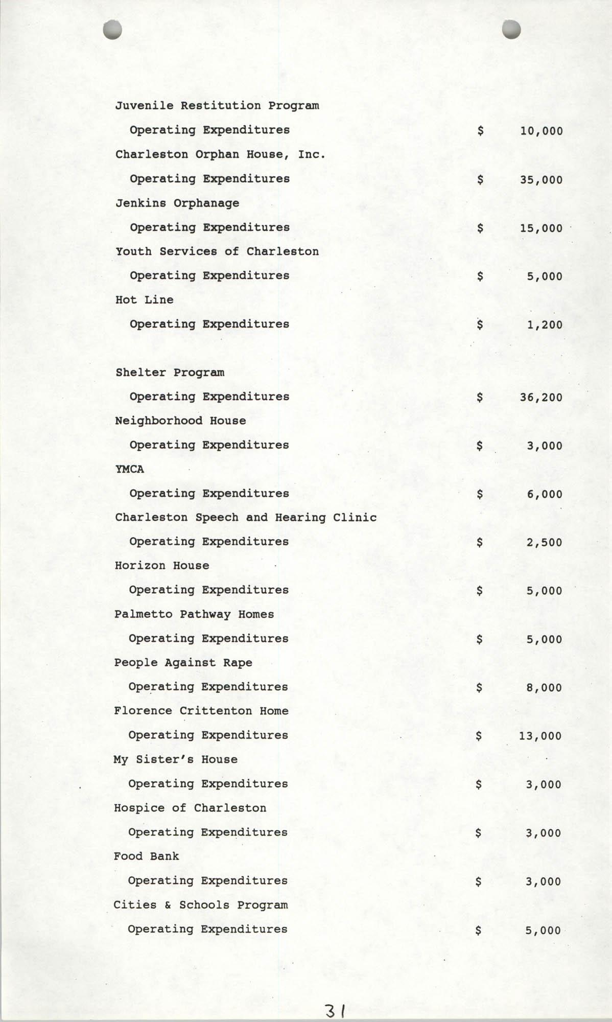 The City Council of Charleston, South Carolina, 1993 Budget, Page 31