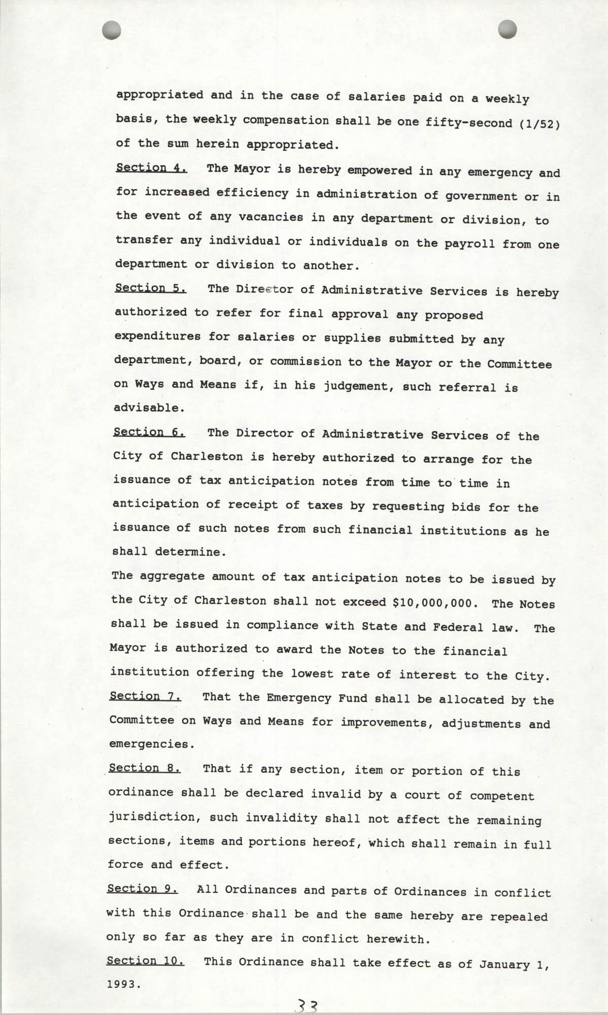 The City Council of Charleston, South Carolina, 1993 Budget, Page 33