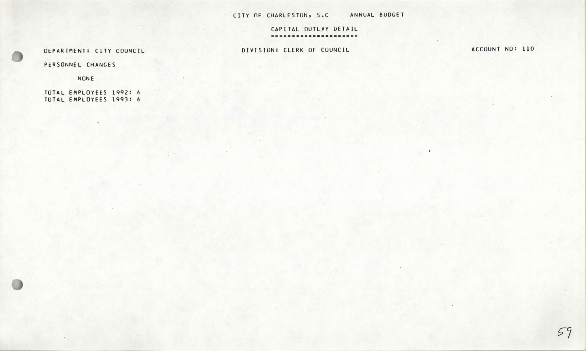 The City Council of Charleston, South Carolina, 1993 Budget, Page 59