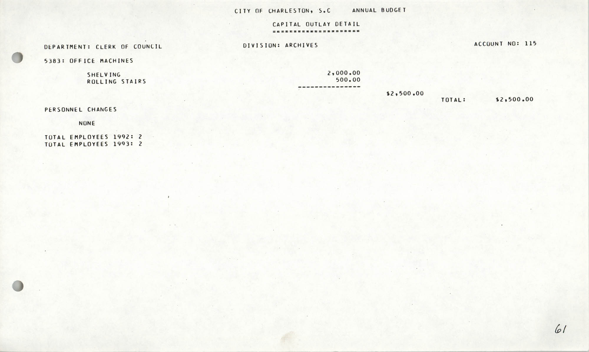 The City Council of Charleston, South Carolina, 1993 Budget, Page 61